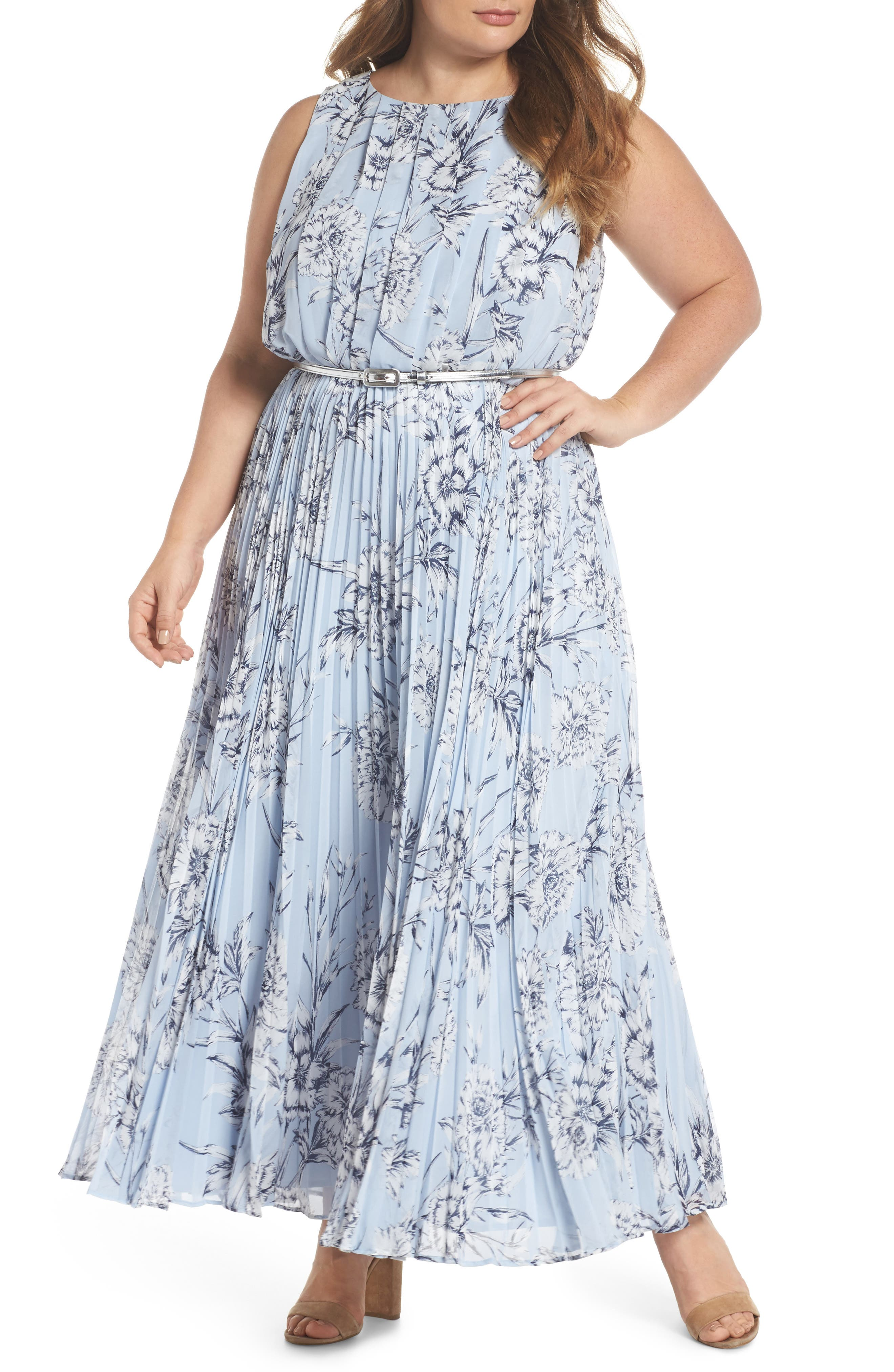 Belted Floral Maxi Dress,                         Main,                         color, Blue