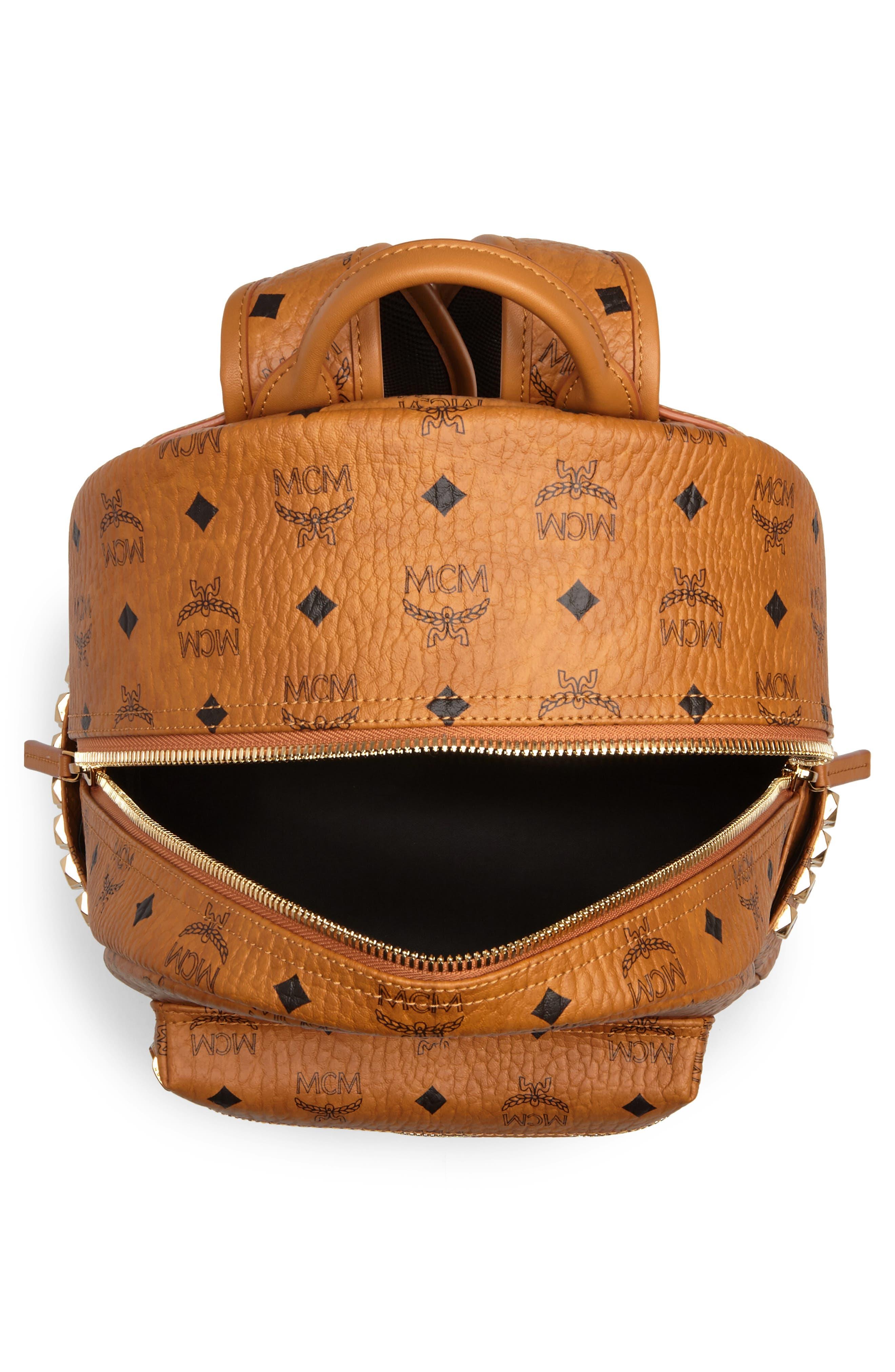 Medium Stark Side Stud Coated Canvas Backpack,                             Alternate thumbnail 4, color,                             Cognac