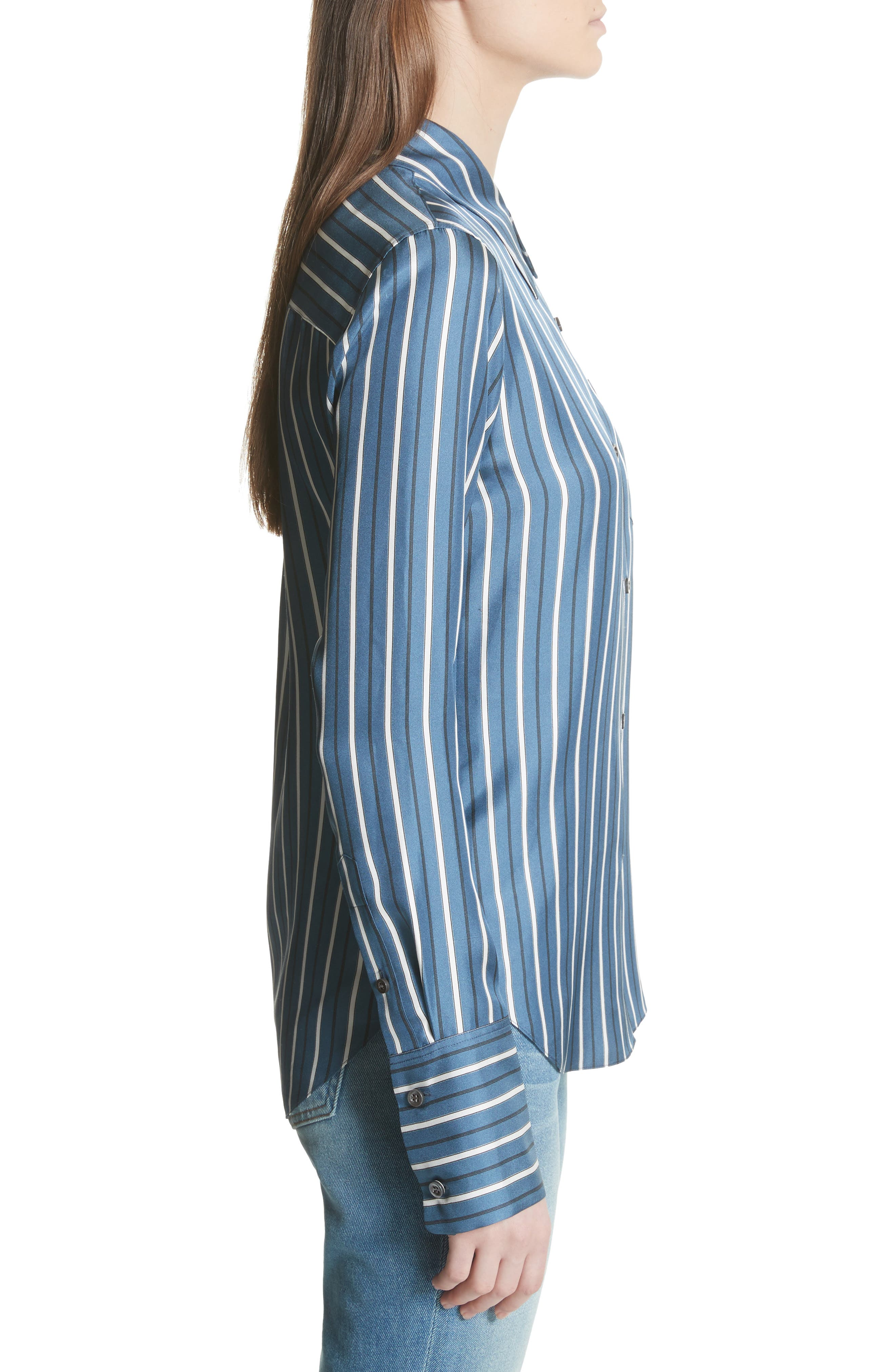 Darby Silk Button Shirt,                             Alternate thumbnail 3, color,                             Light Santorini Blue
