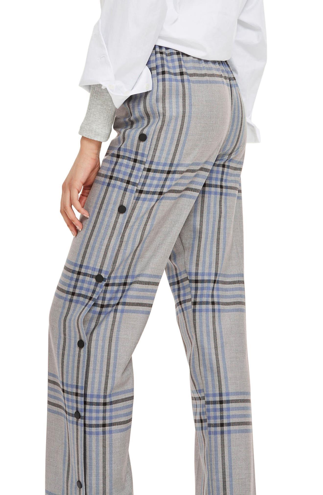 Plaid Popper Wide Leg Trousers,                             Alternate thumbnail 2, color,                             Grey Multi
