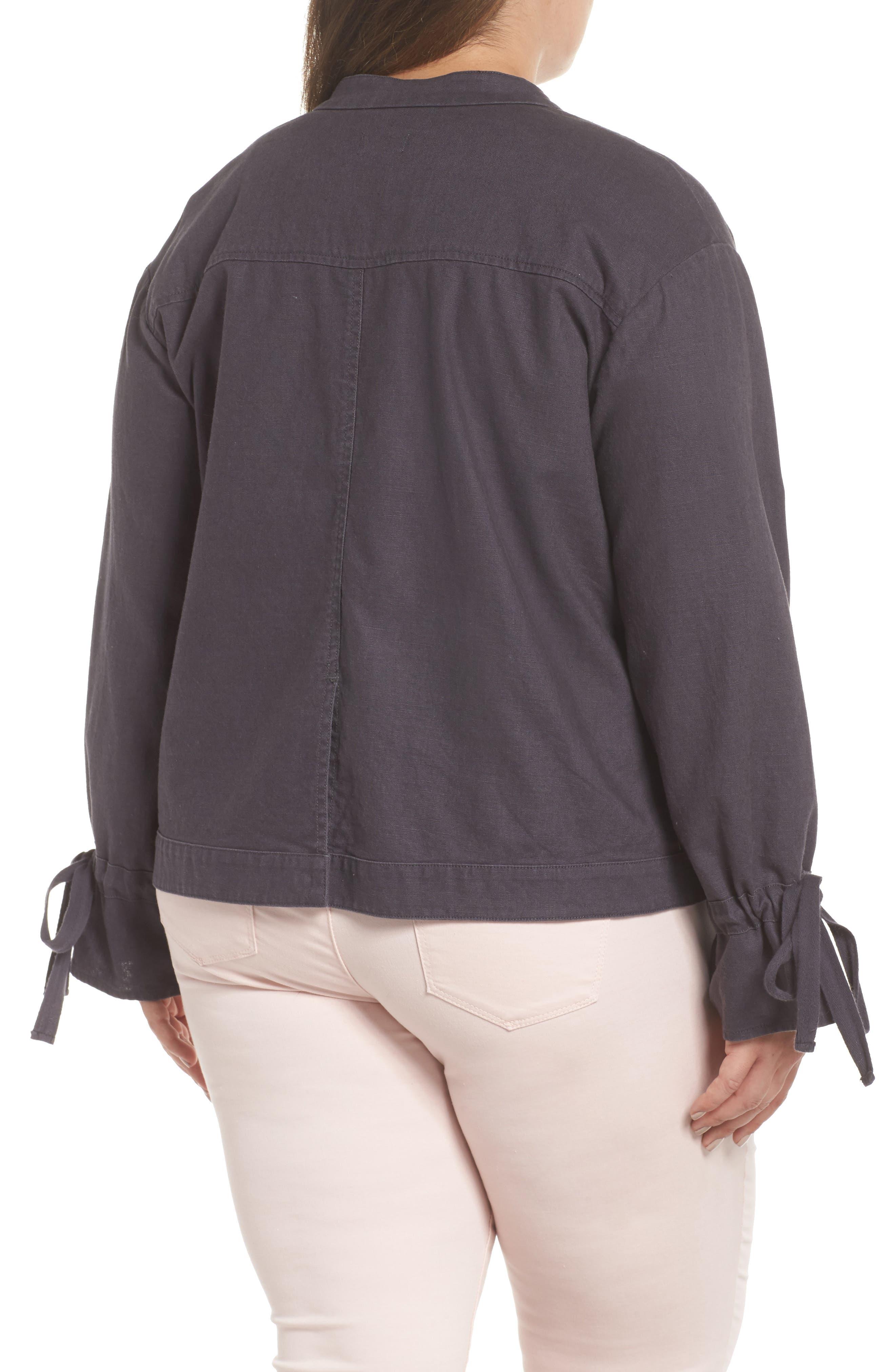 Tie Sleeve Utility Jacket,                             Alternate thumbnail 2, color,                             Grey Ebony