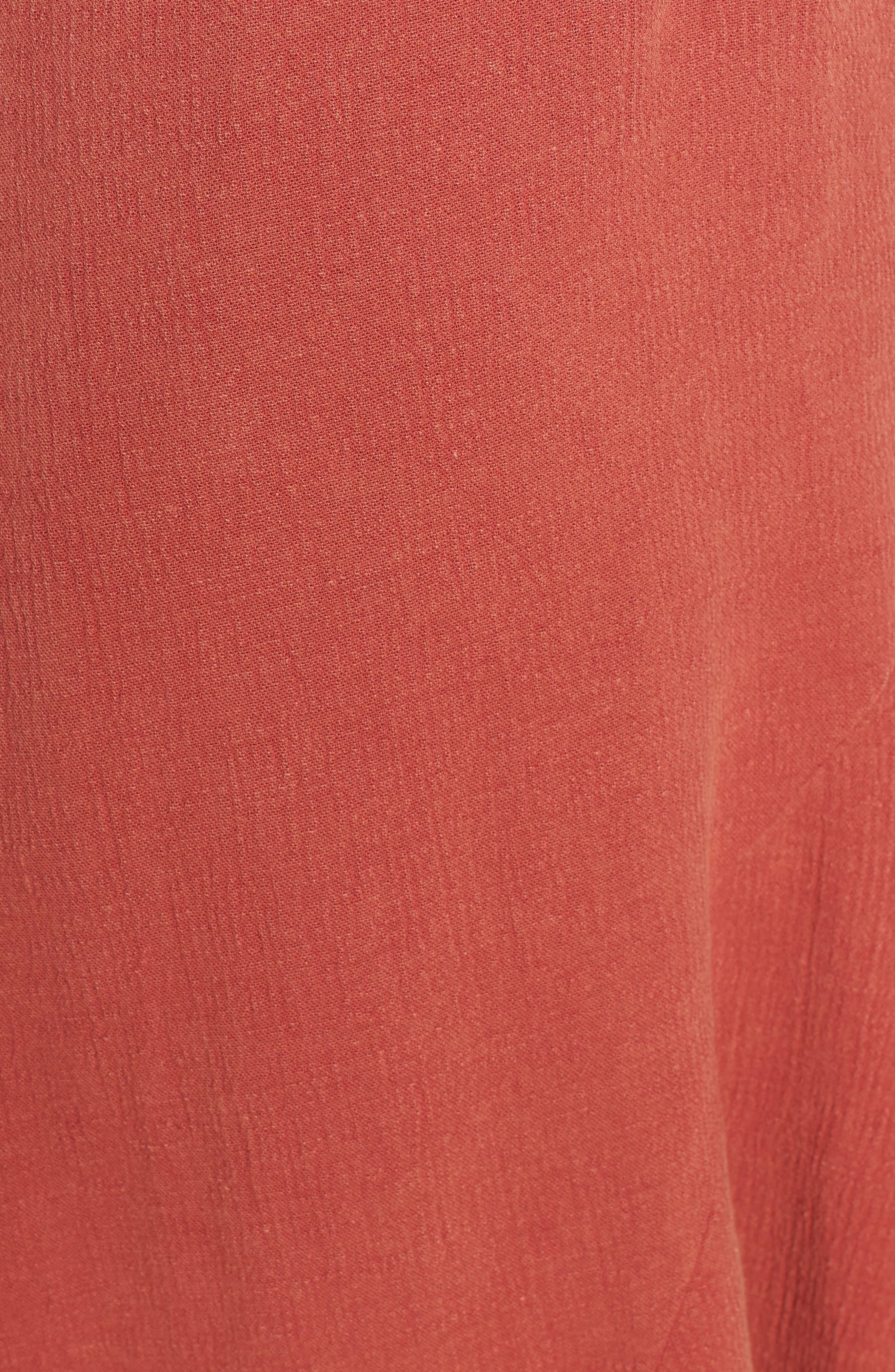 Meet Me in Dreams Flutter Hem Dress,                             Alternate thumbnail 6, color,                             Burnt Orange