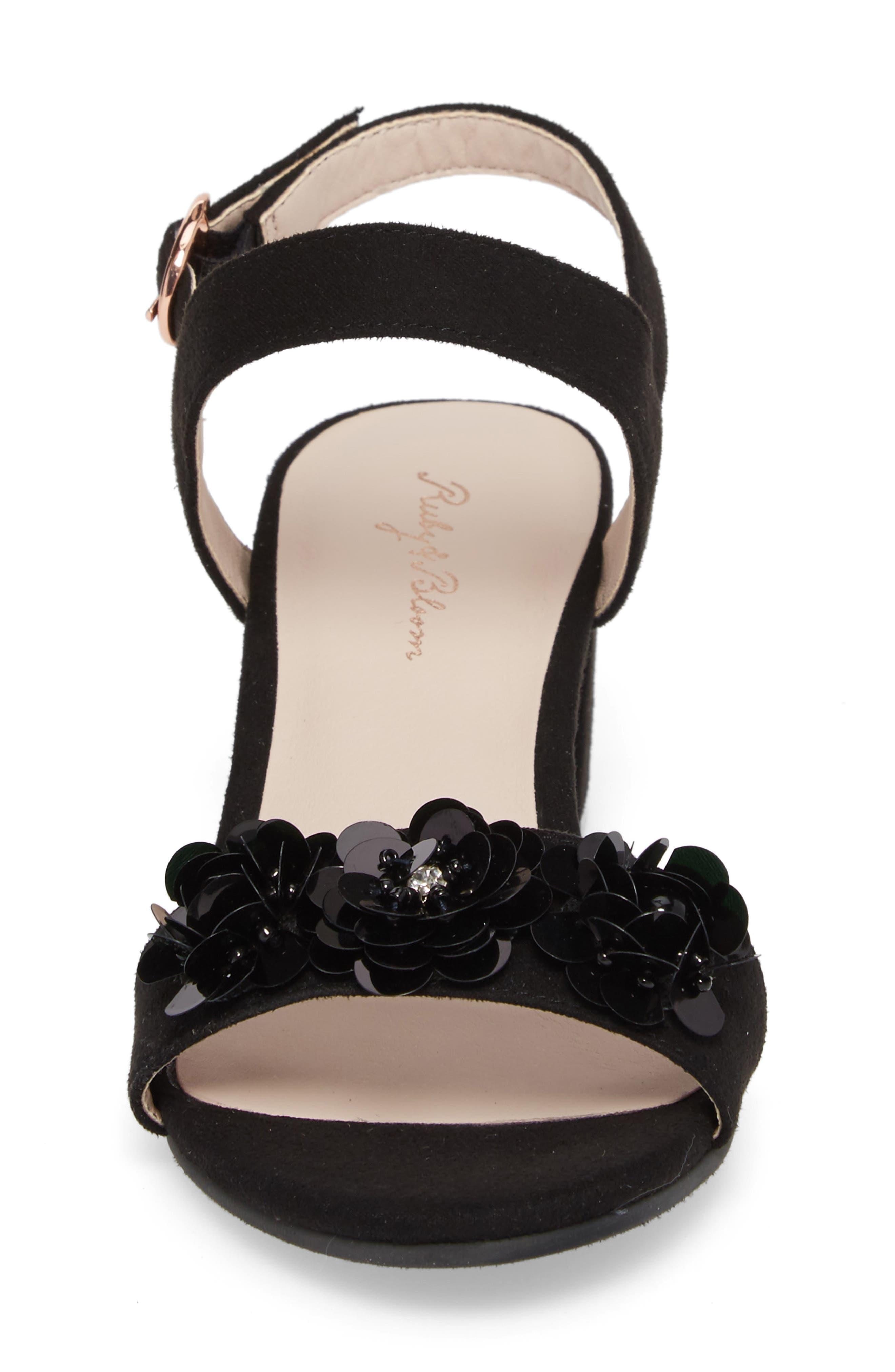 Dina Floral Embellished Sandal,                             Alternate thumbnail 4, color,                             Black Fabric