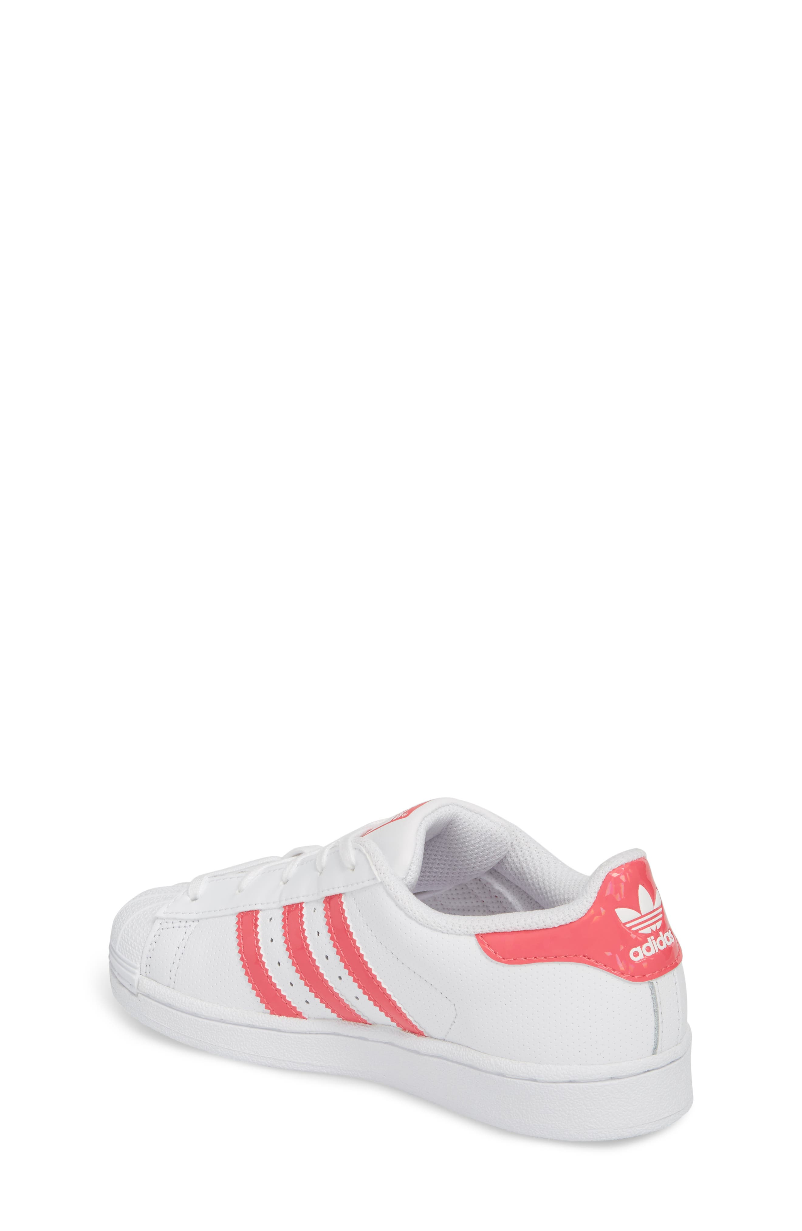 Superstar Perforated Low Top Sneaker,                             Alternate thumbnail 2, color,                             White / Real Pink / White