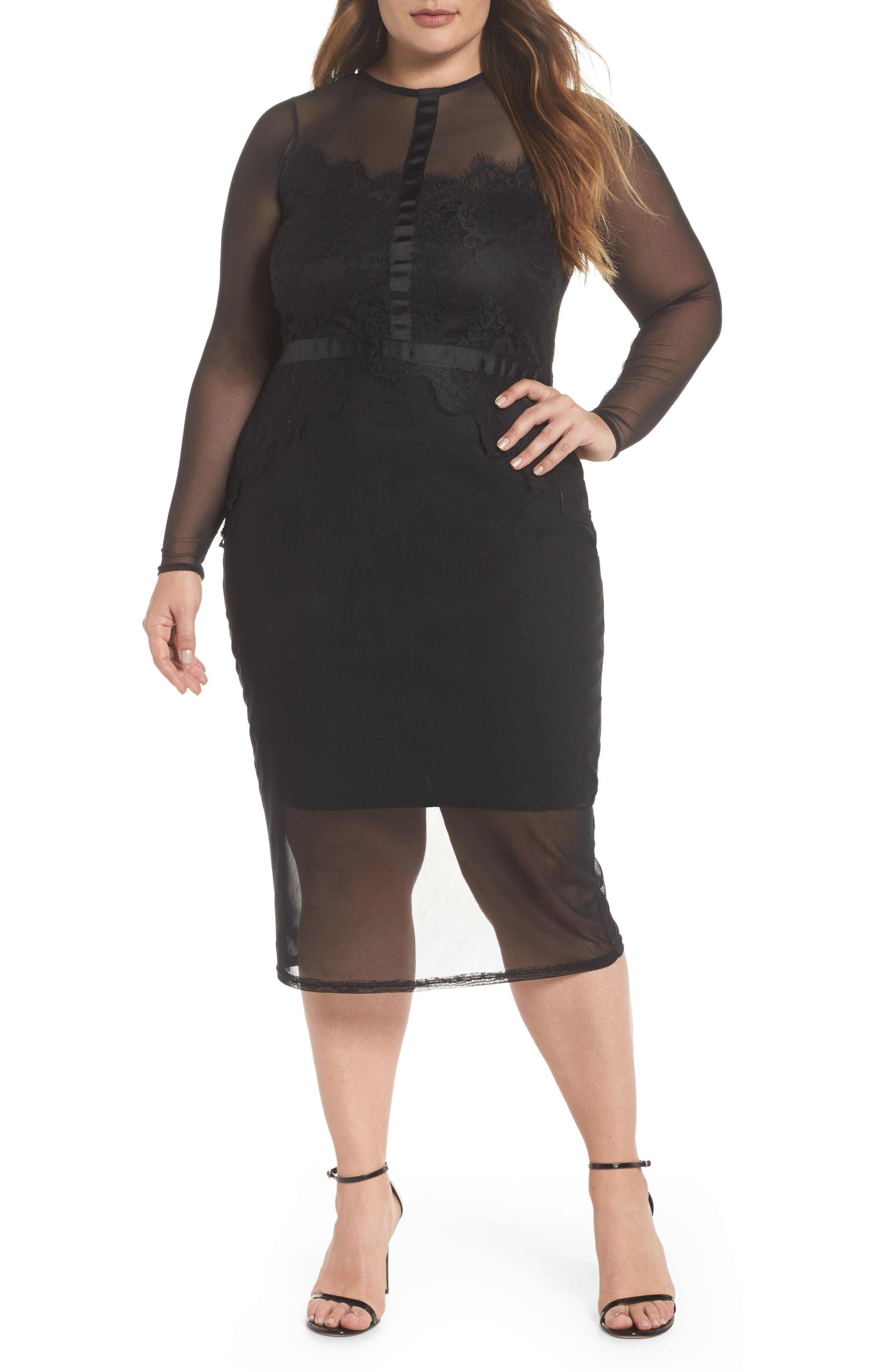 Body-Con Mesh Dress,                         Main,                         color, Black