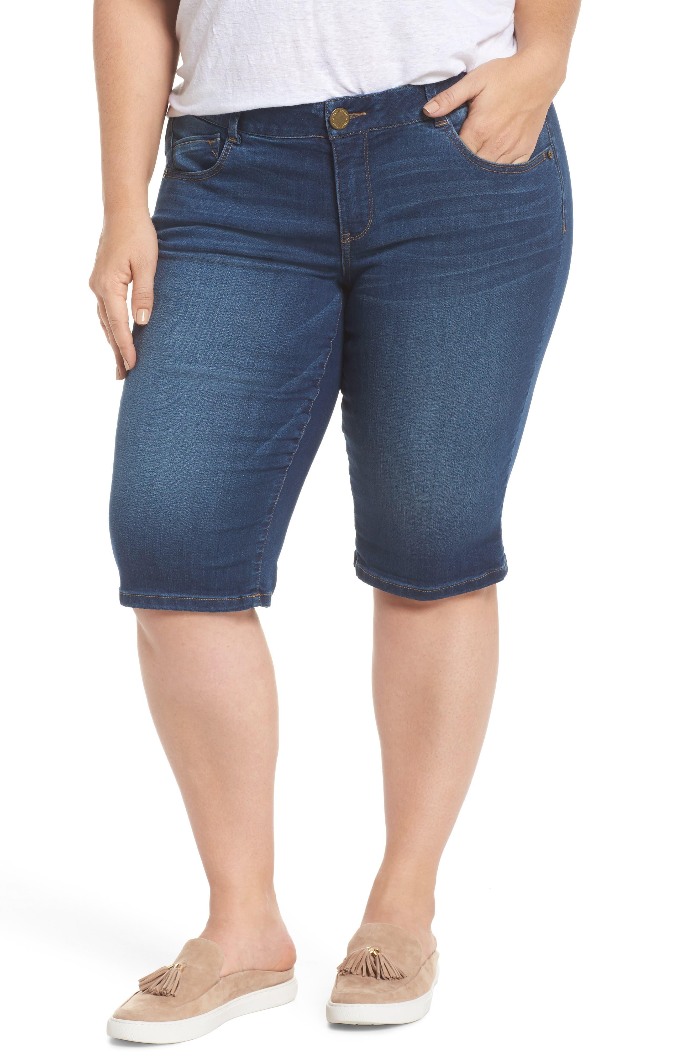 Ab-solution Denim Bermuda Shorts,                         Main,                         color, Blue