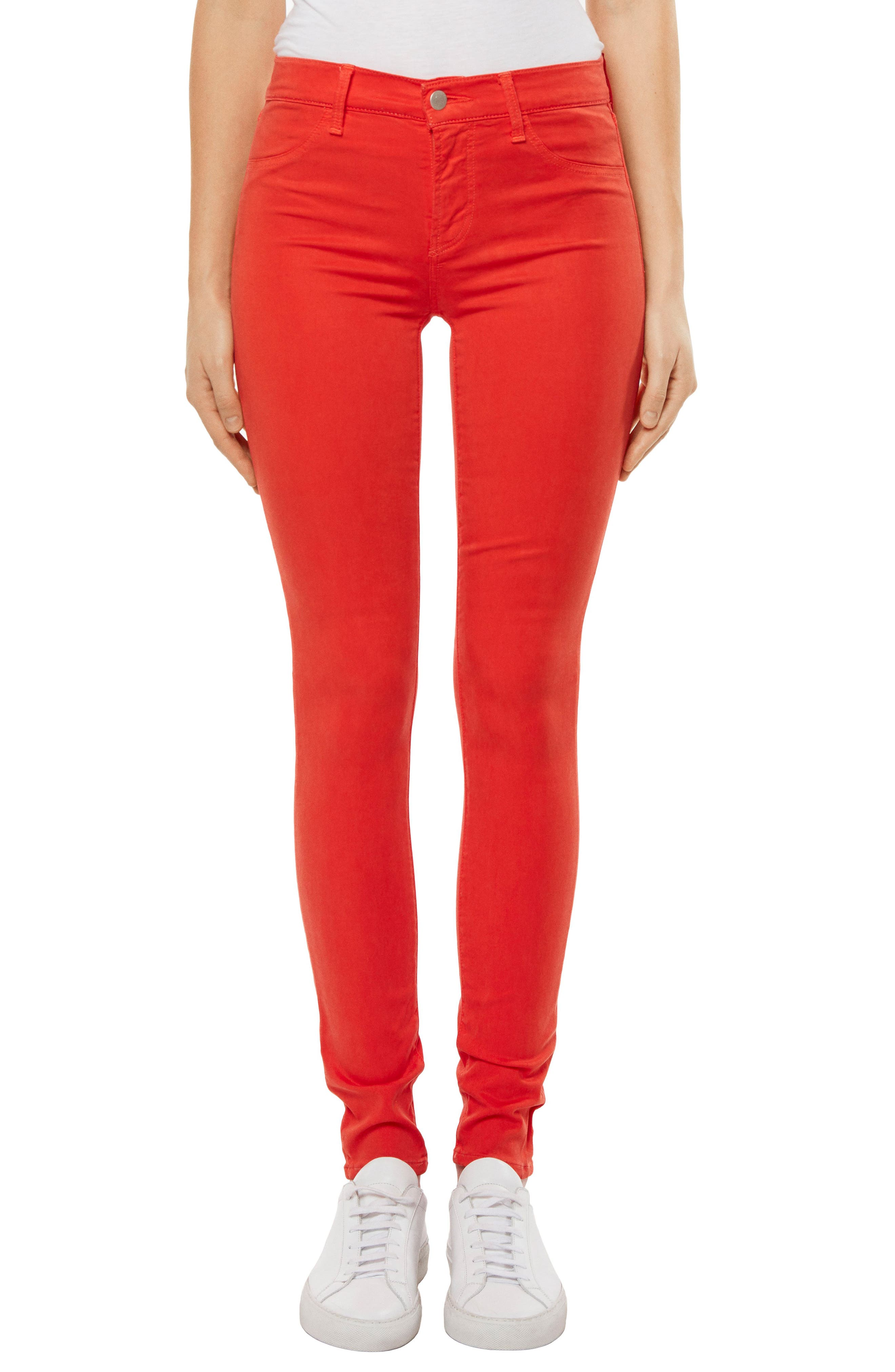 485 Mid Rise Skinny Jeans,                             Main thumbnail 1, color,                             Bright Coral