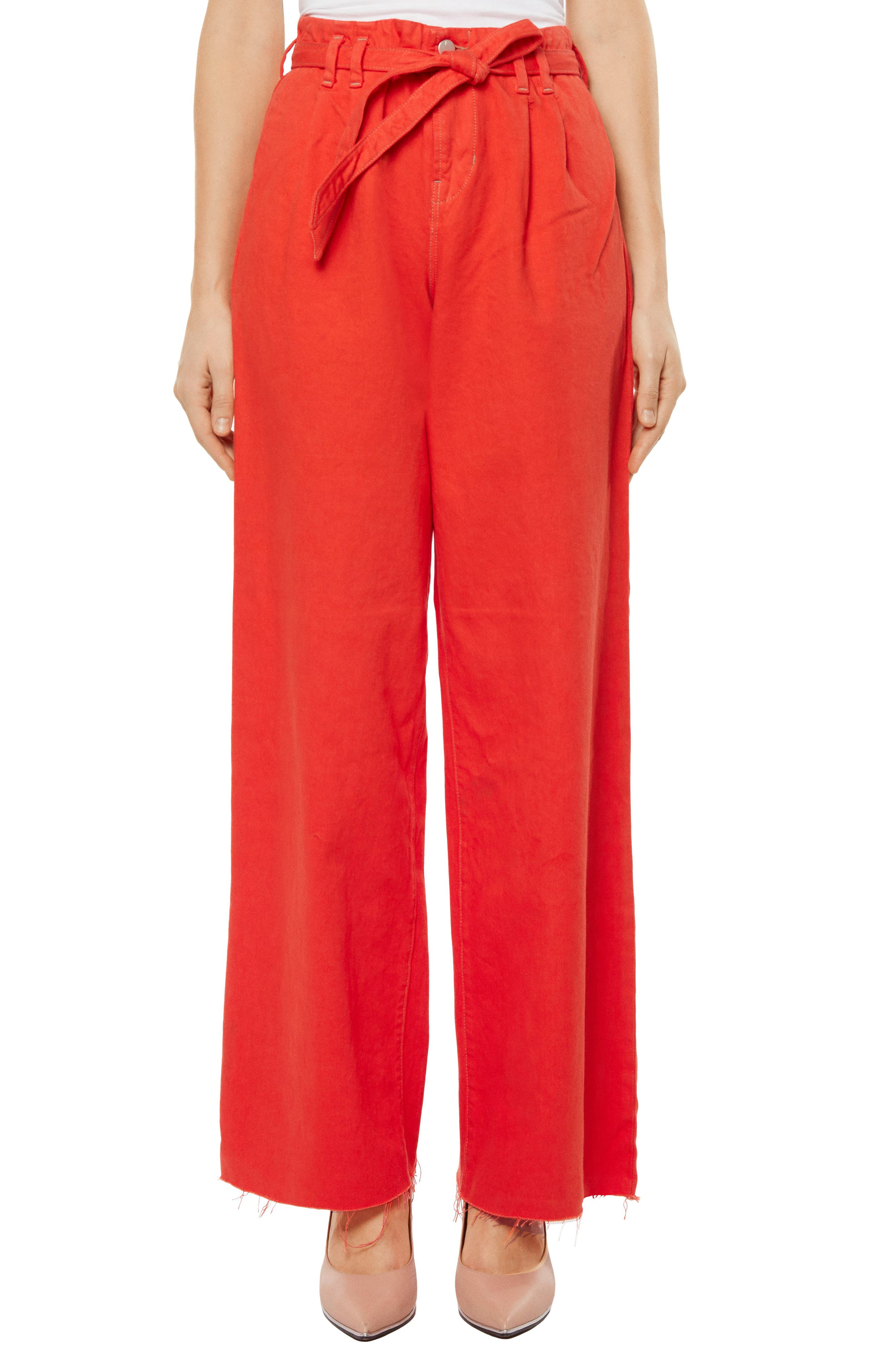 High Waist Wide Leg Pants,                         Main,                         color, Bright Coral