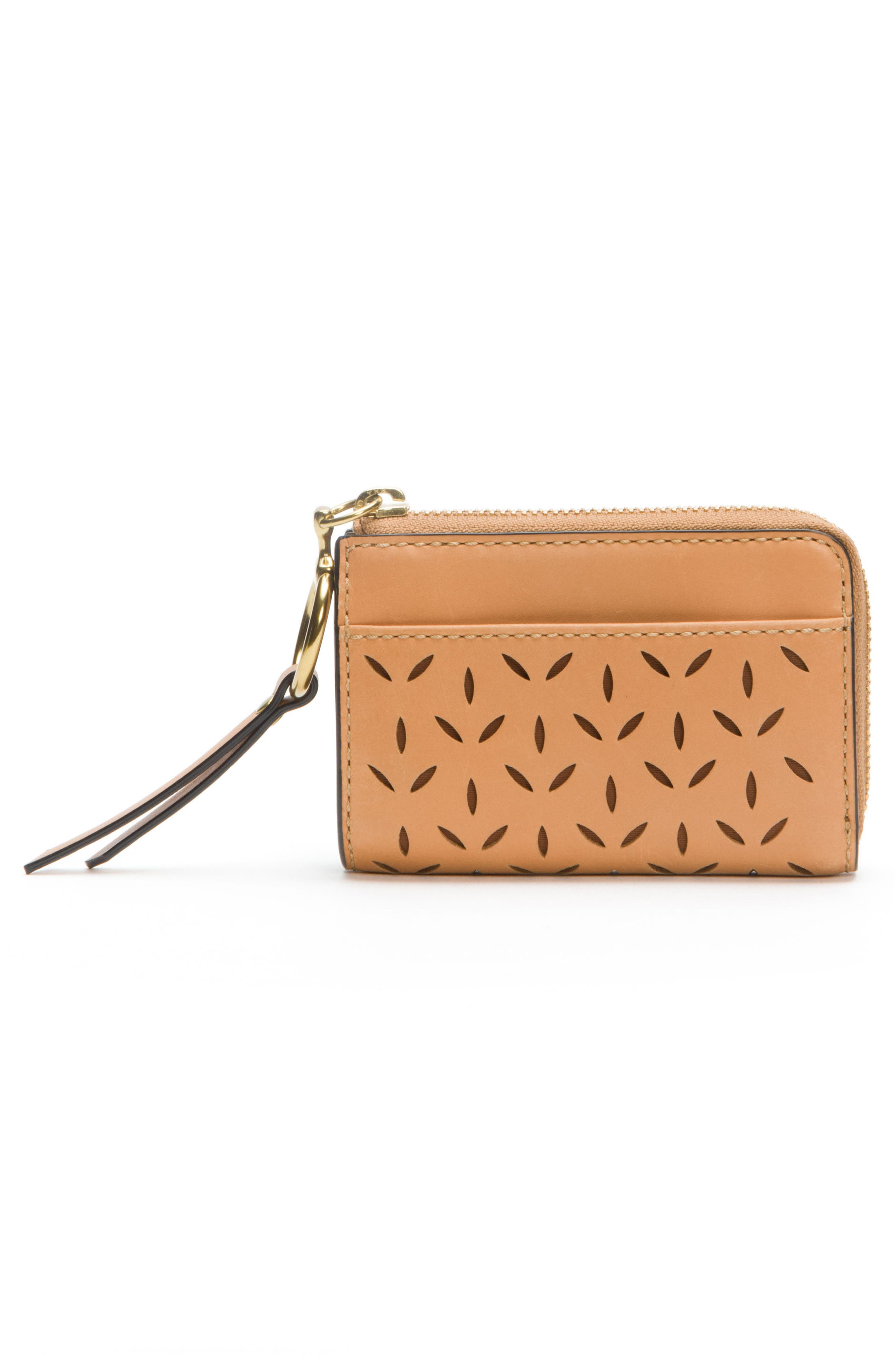 Ilana Small Perforated Leather Zip Wallet,                             Alternate thumbnail 4, color,                             Light Tan