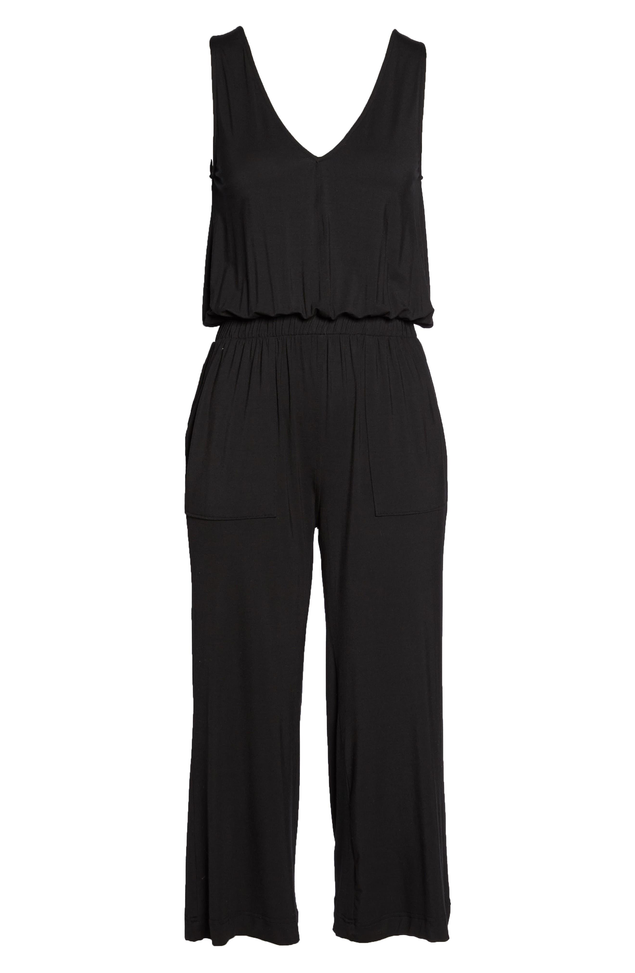 Crop Jumpsuit,                             Alternate thumbnail 4, color,                             Black