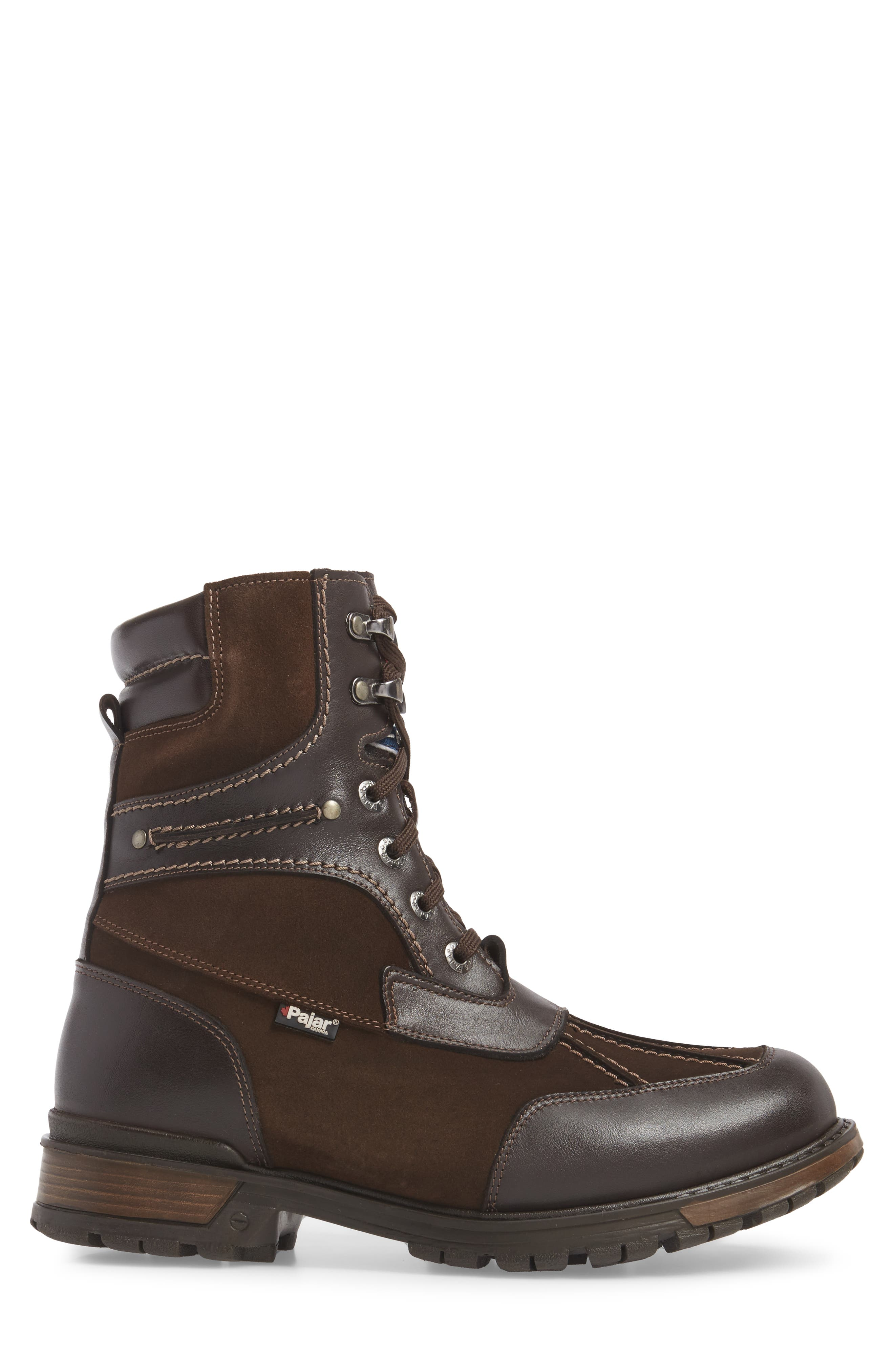 'Carrefour' Snow Boot,                             Alternate thumbnail 3, color,                             Dark Brown Leather