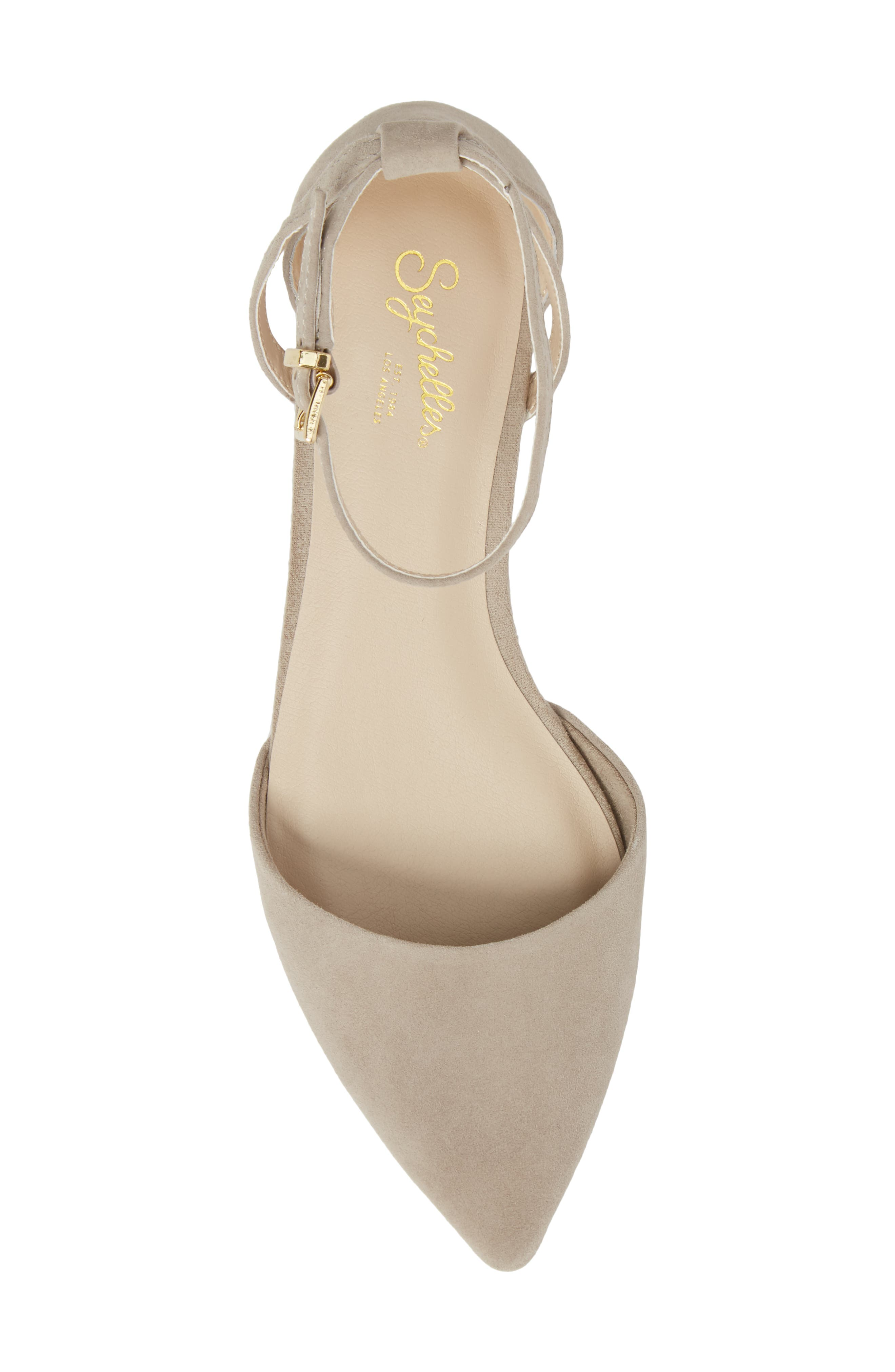 Plateau Ankle Strap Flat,                             Alternate thumbnail 5, color,                             Taupe Suede