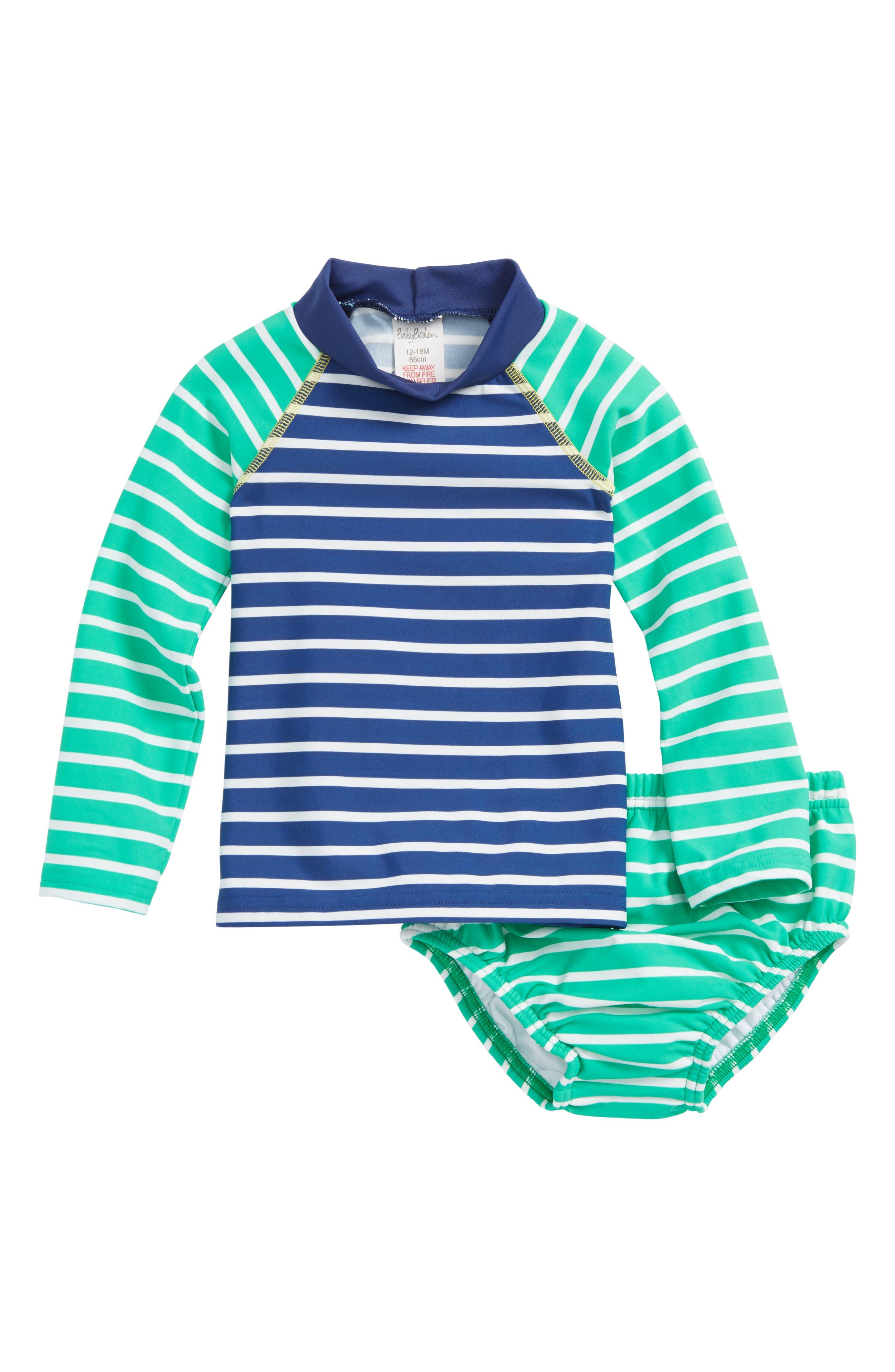 Two-Piece Rashguard Swimsuit,                         Main,                         color, Astro Green/ Deep Sea