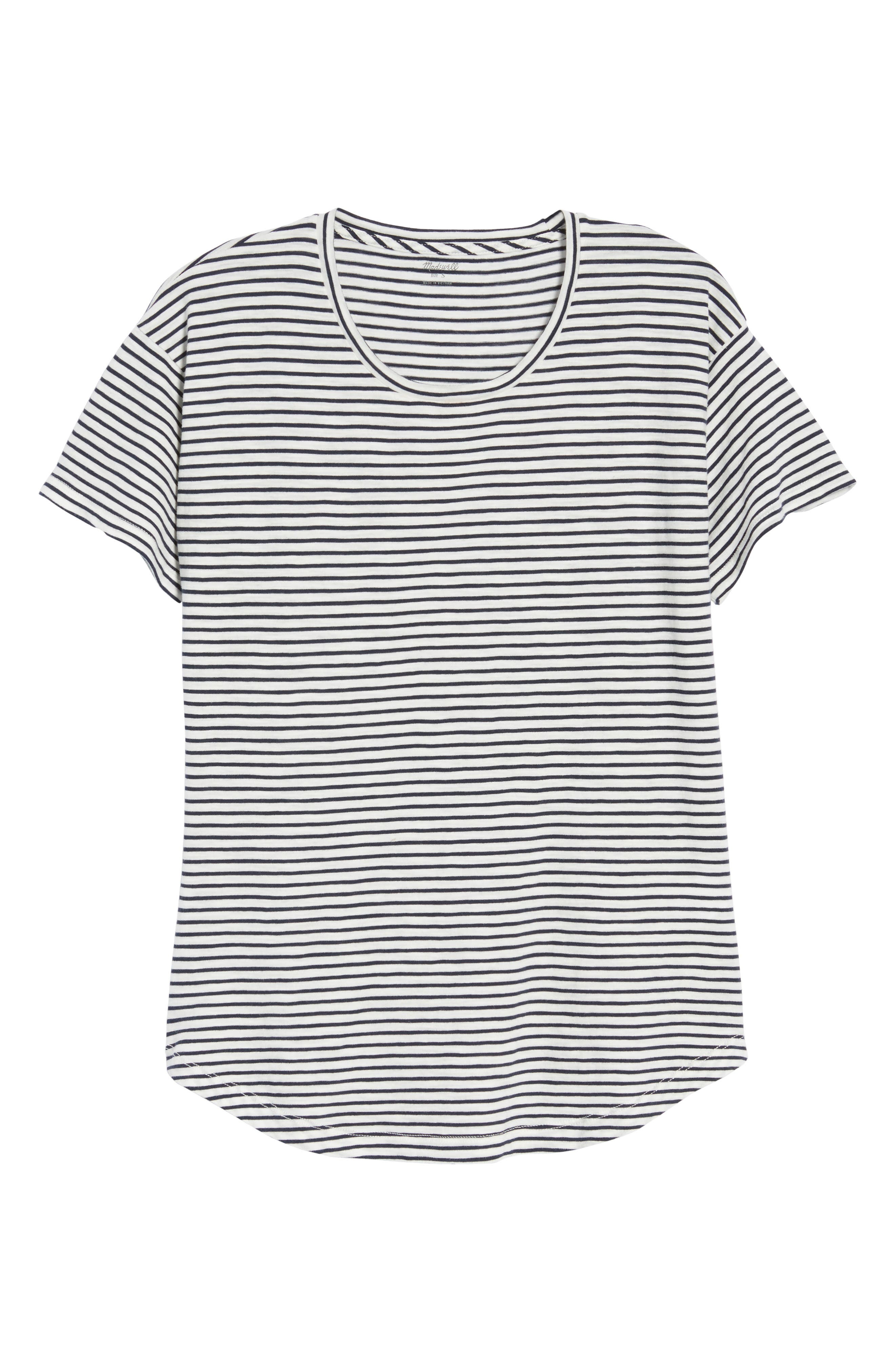 Whisper Cotton Stripe Crewneck Tee,                             Alternate thumbnail 7, color,                             Deep Navy