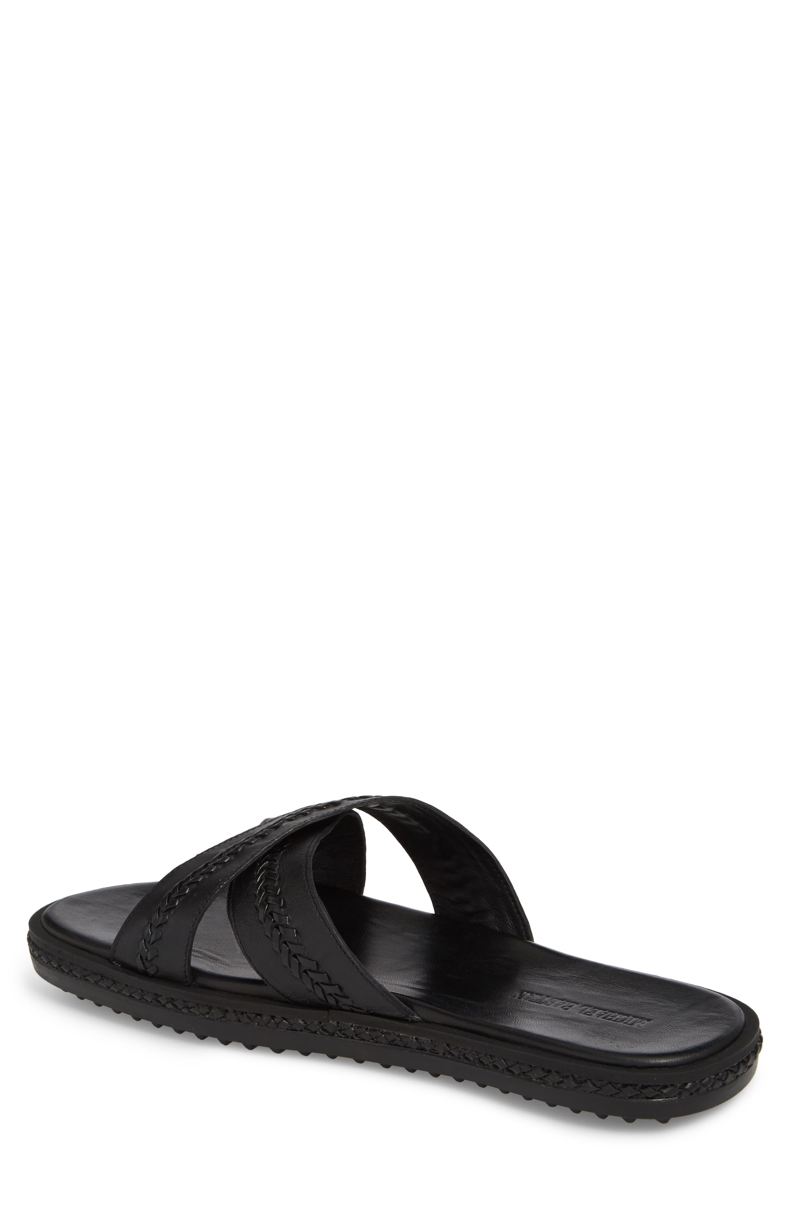 Woven Cross Strap Slide Sandal,                             Alternate thumbnail 2, color,                             Black Leather