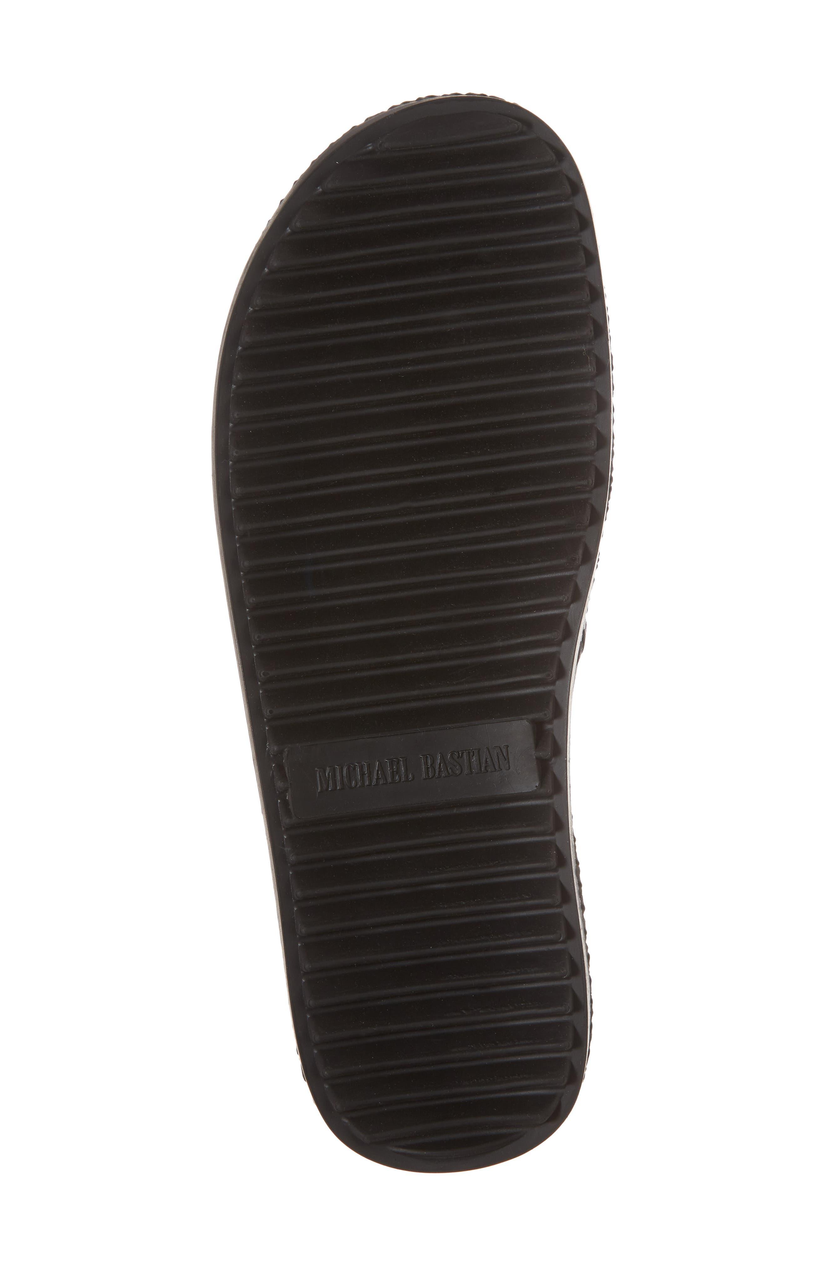 Woven Cross Strap Slide Sandal,                             Alternate thumbnail 6, color,                             Black Leather