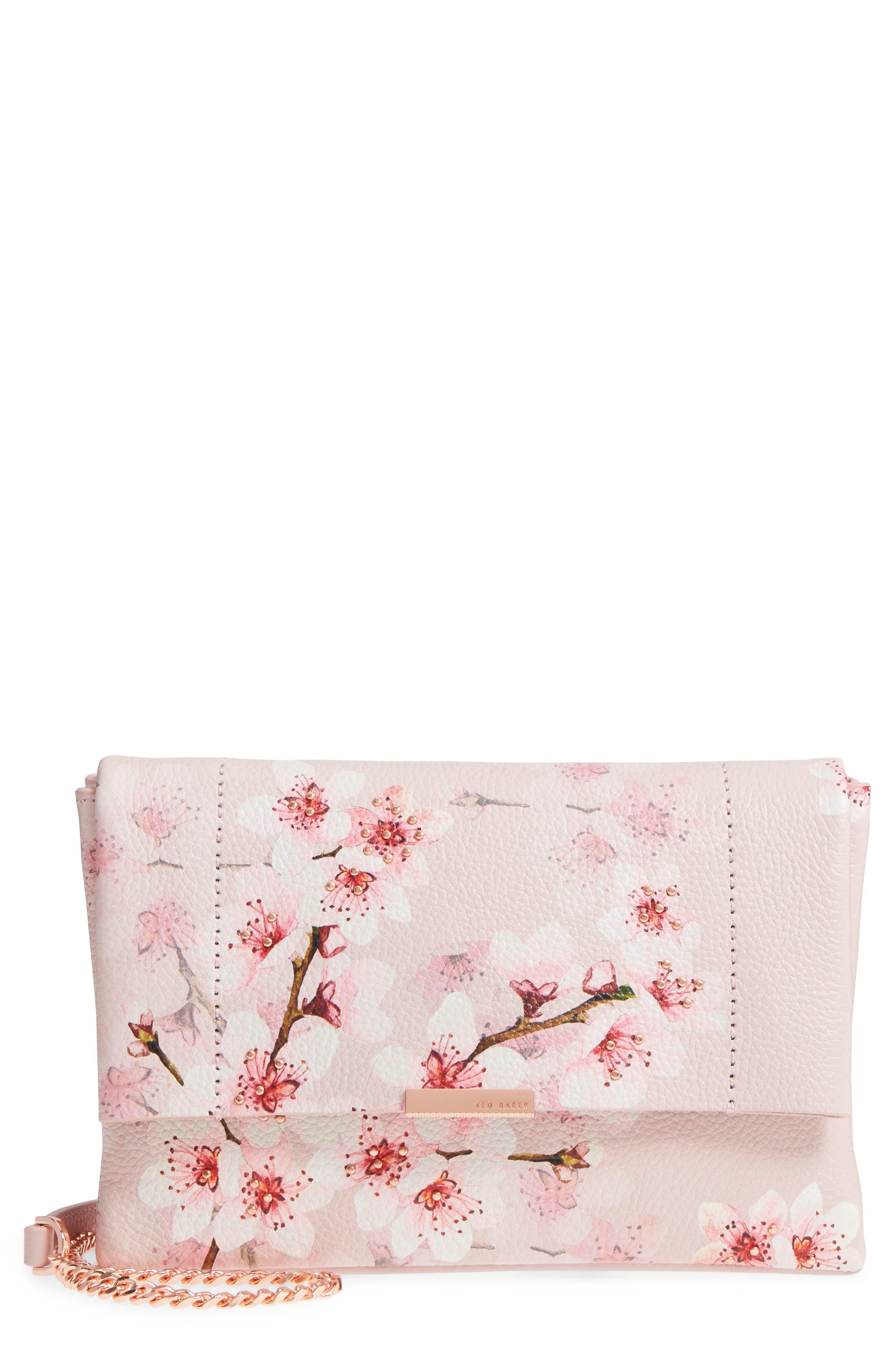 Main Image - Ted Baker London Jayy Soft Blossom Leather Crossbody Bag