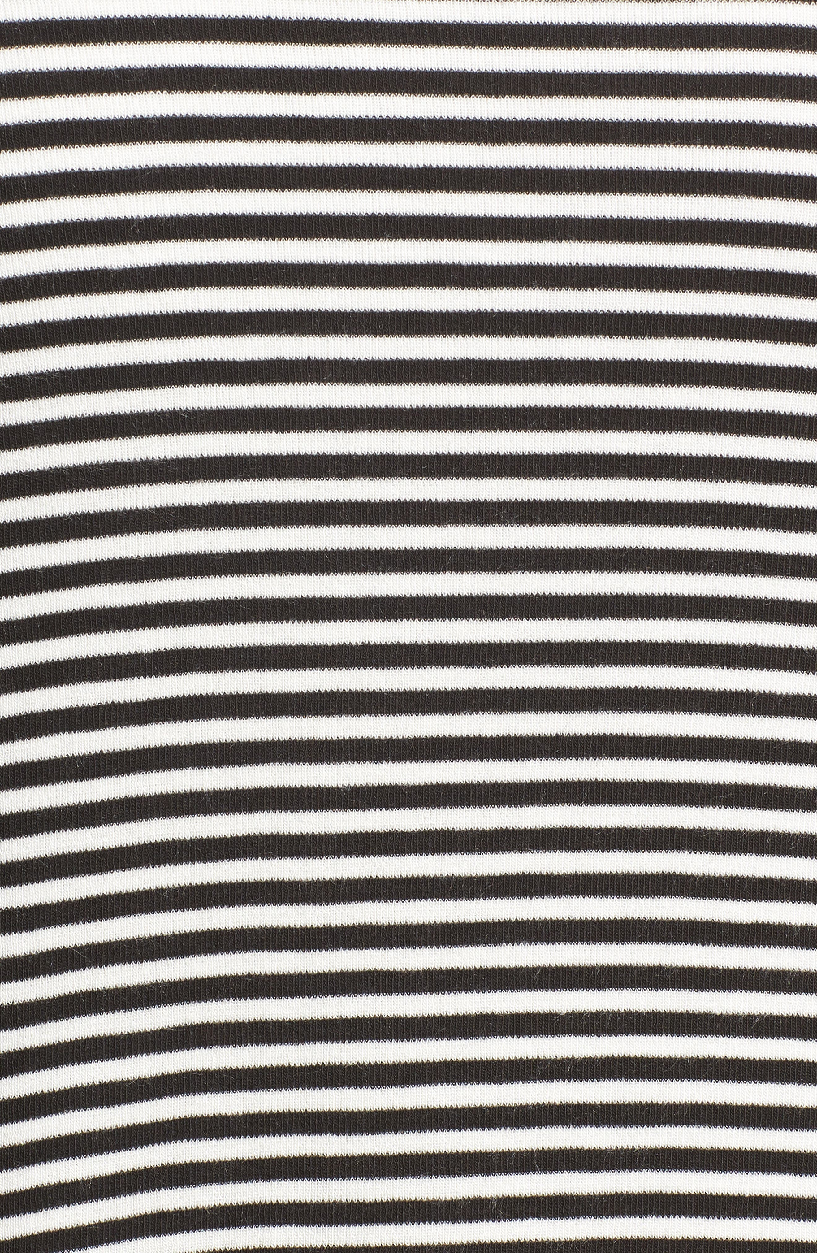 Ruched Sleeve Cardigan,                             Alternate thumbnail 6, color,                             Black/ White Stripe