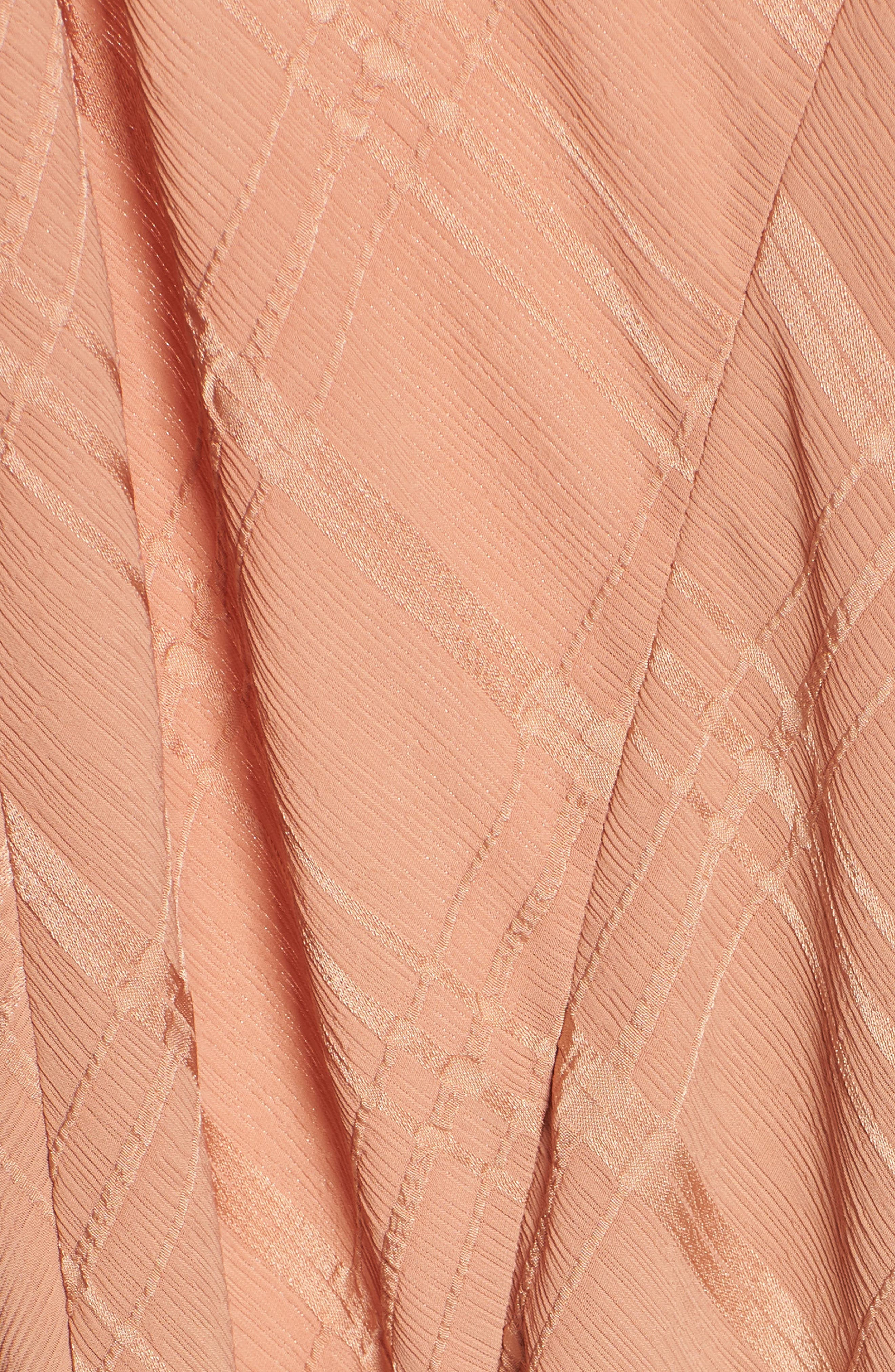 Yoanna Ruffle Trim Wrap Dress,                             Alternate thumbnail 5, color,                             Terracotta
