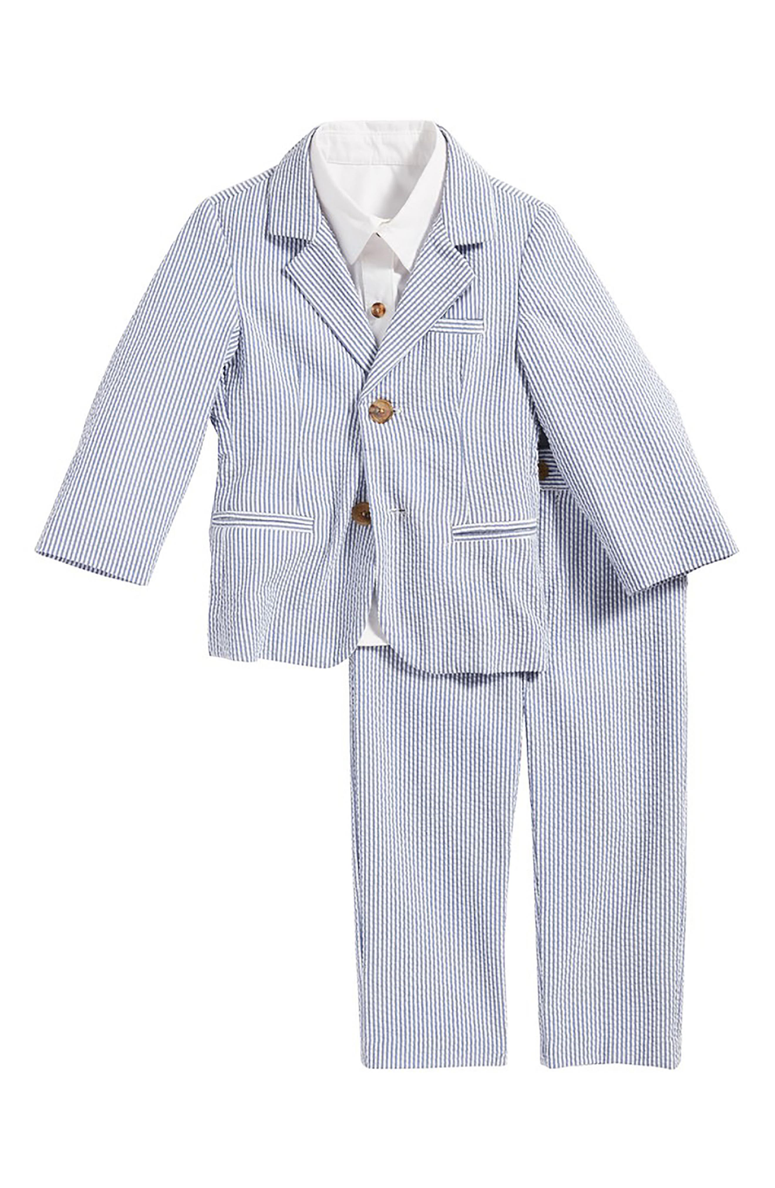Main Image - Little Brother by Pippa & Julie Seersucker Suit Set (Baby Boys)