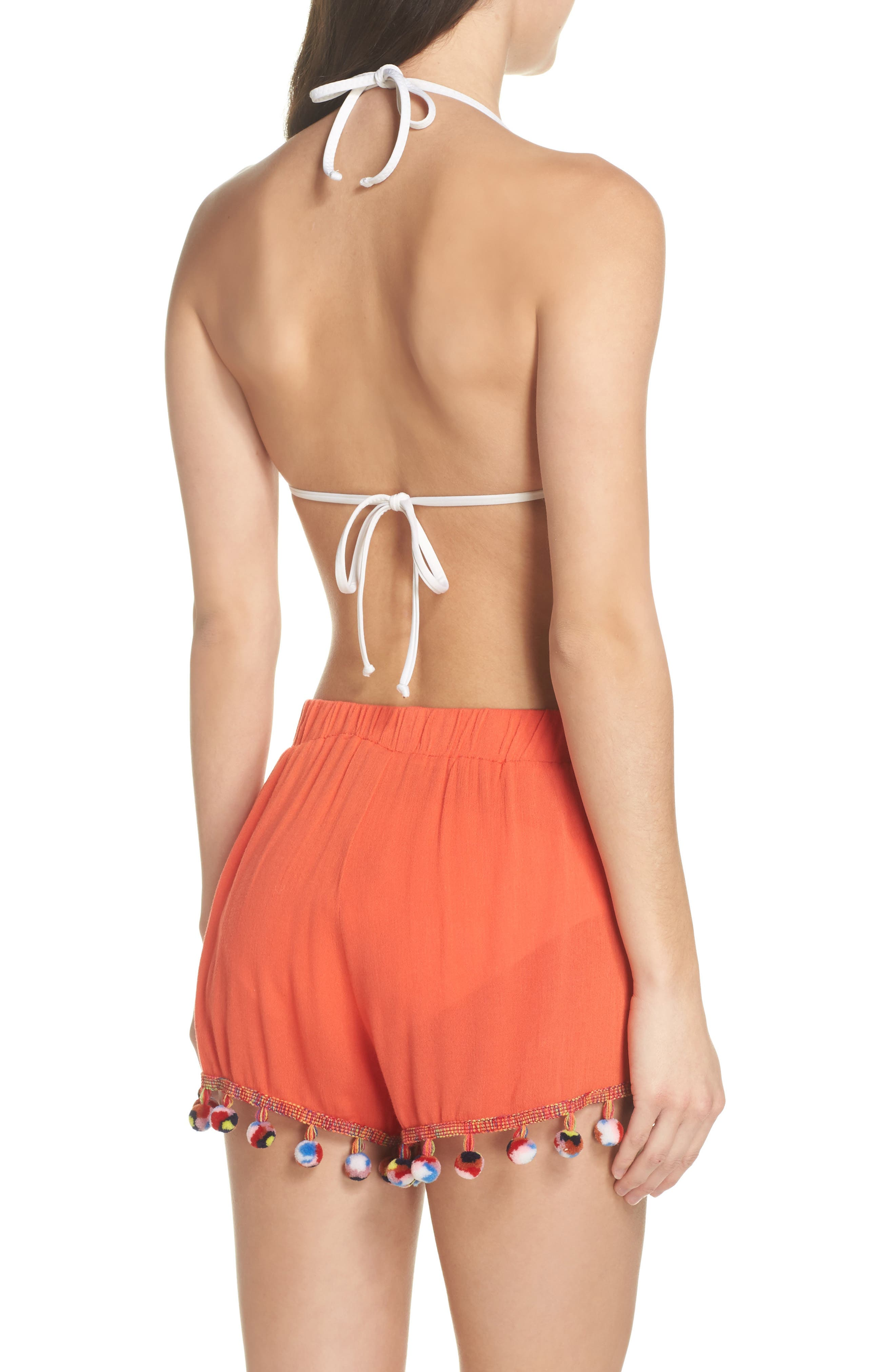 Red Fruit Punch Pompom Cover-Up Shorts,                             Alternate thumbnail 2, color,                             Red