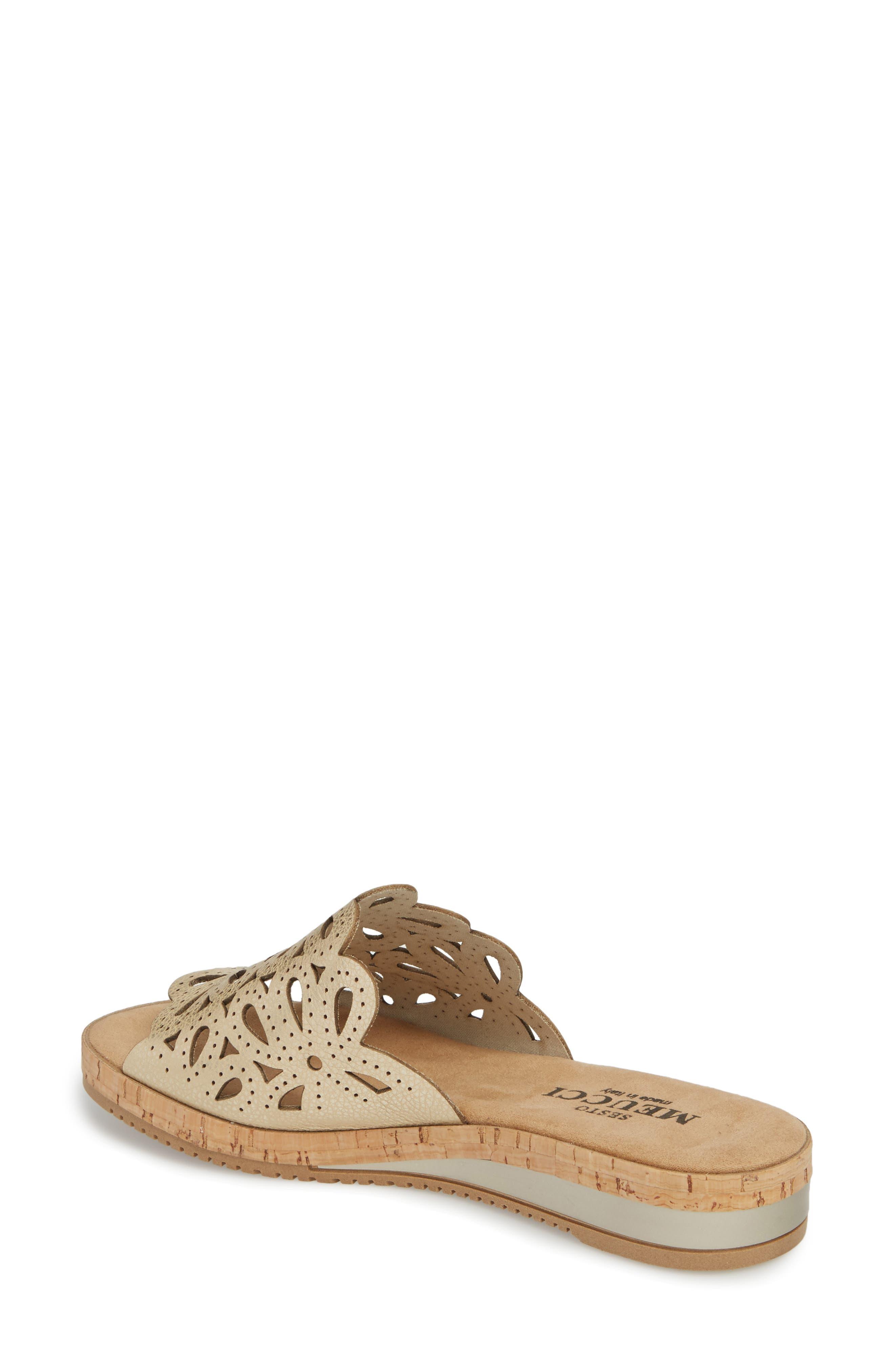 Selina Slide Sandal,                             Alternate thumbnail 2, color,                             Platino Leather