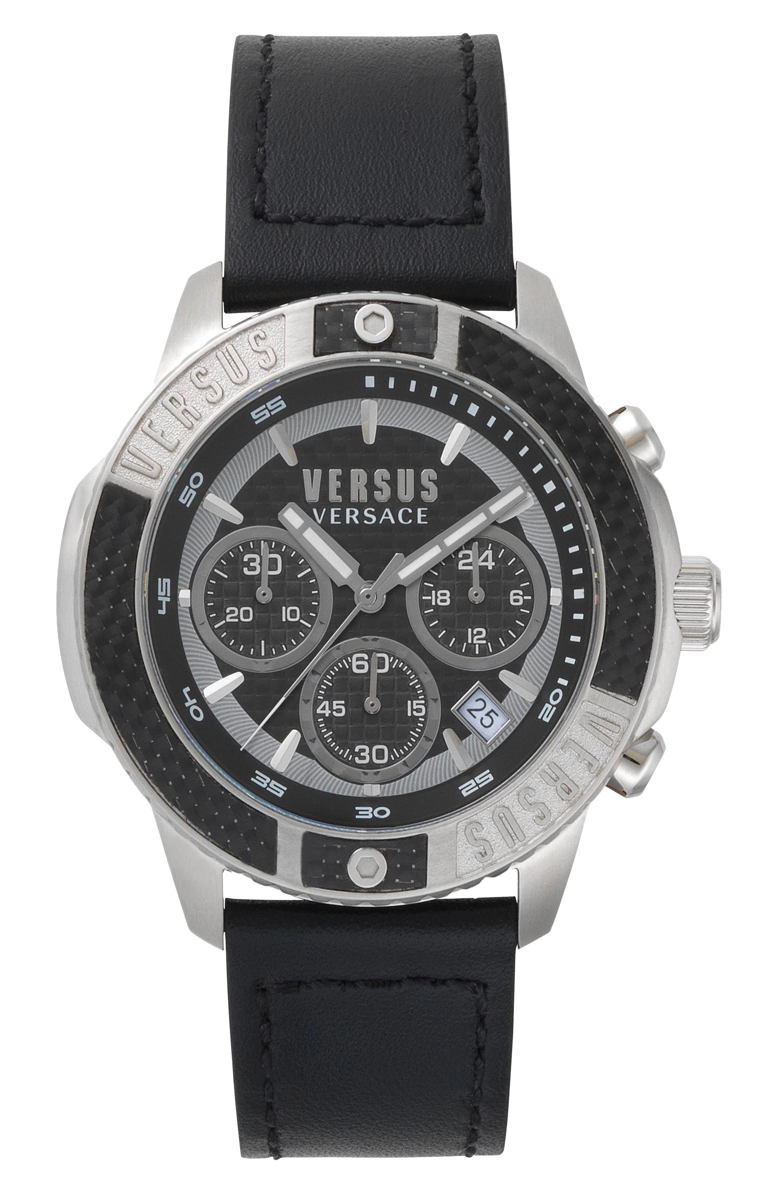 VERSUS by Versace Admiralty Chronograph Leather Strap Watch, 44mm,                             Main thumbnail 1, color,                             Black/ Silver