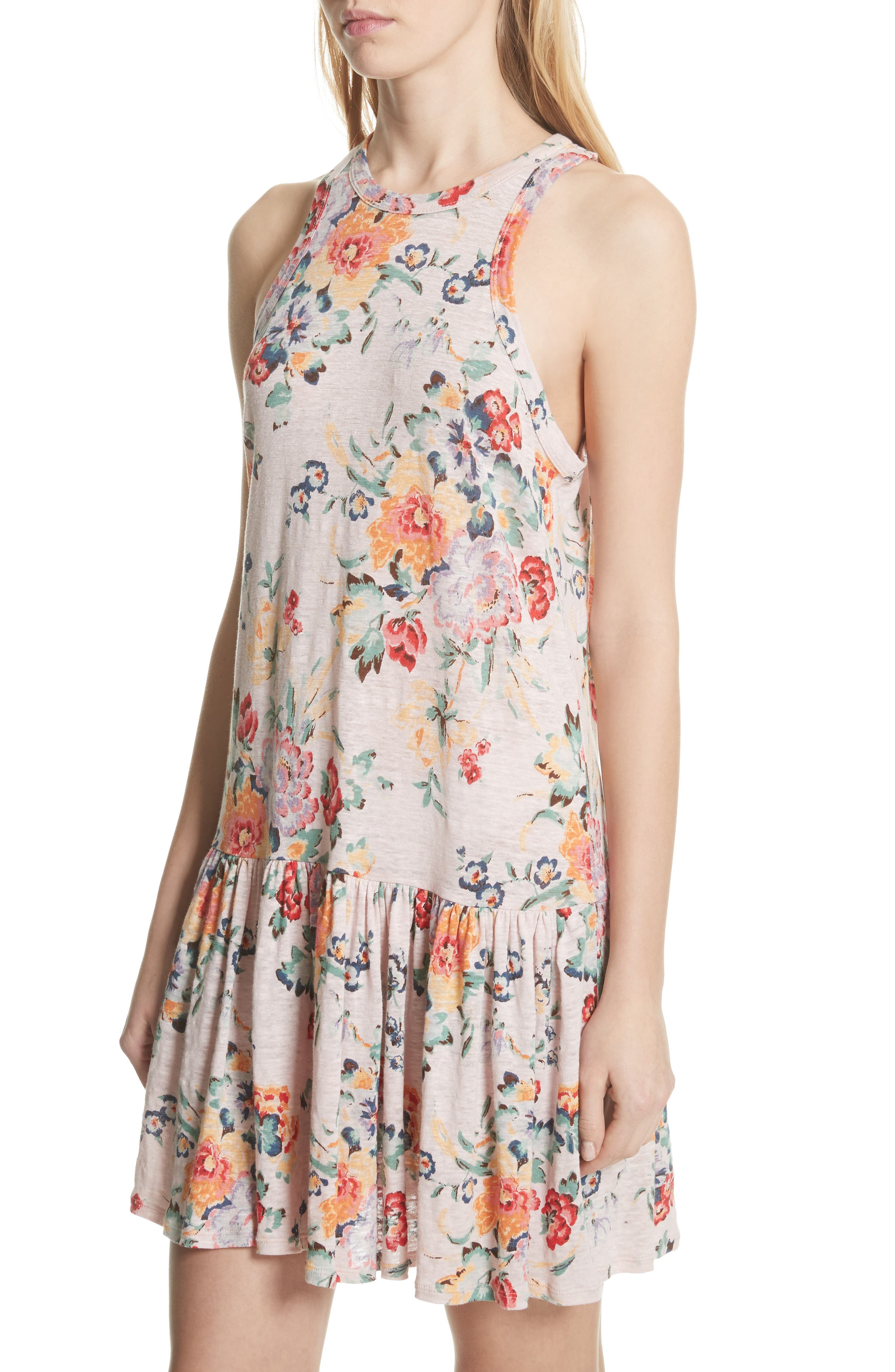 Marlena Floral Jersey Dress,                             Alternate thumbnail 4, color,                             Dusty Rose Combo