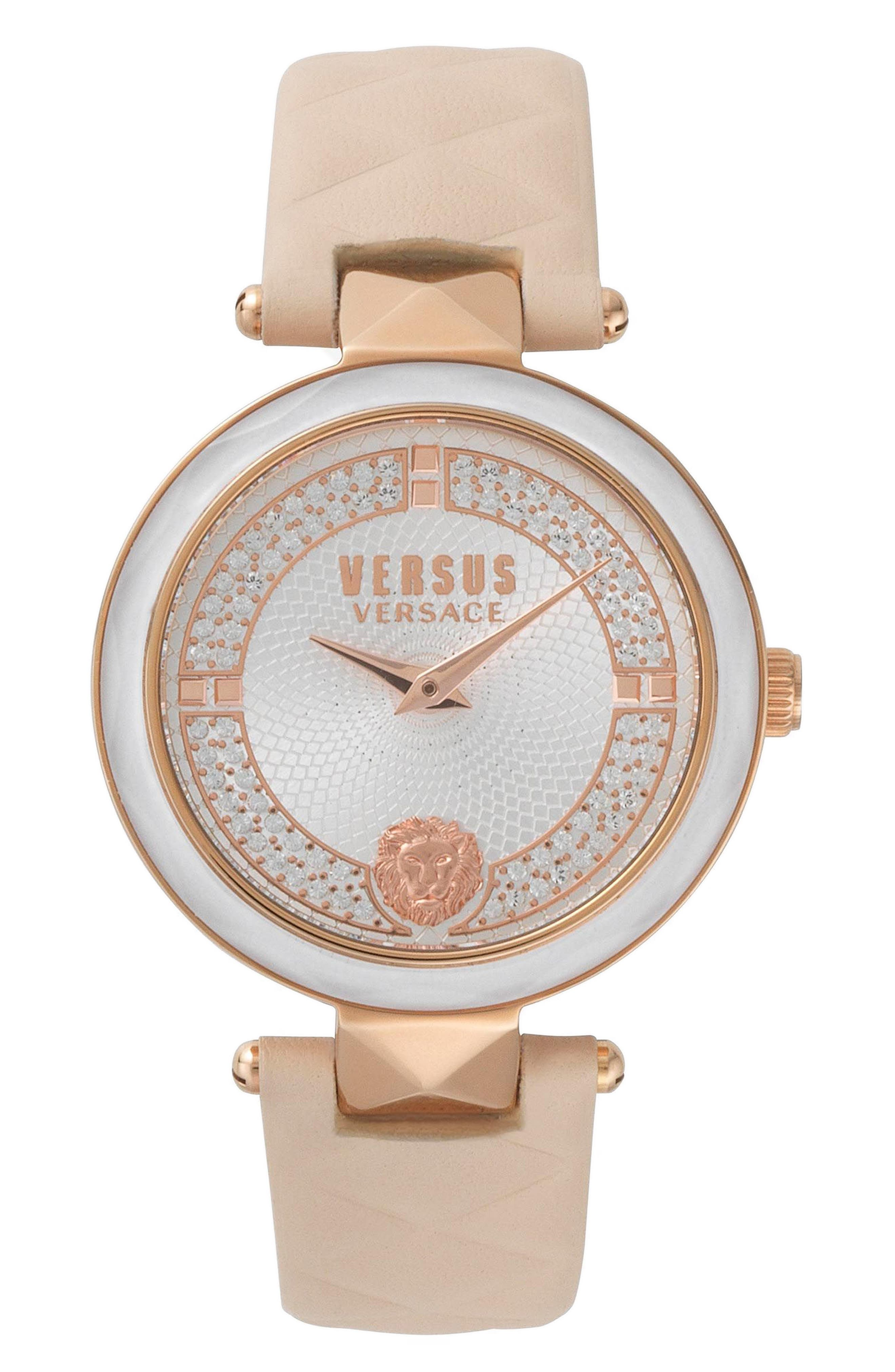 VERSUS by Versace Covent Garden Leather Strap Watch,                         Main,                         color, Beige/ White/ Rose Gold