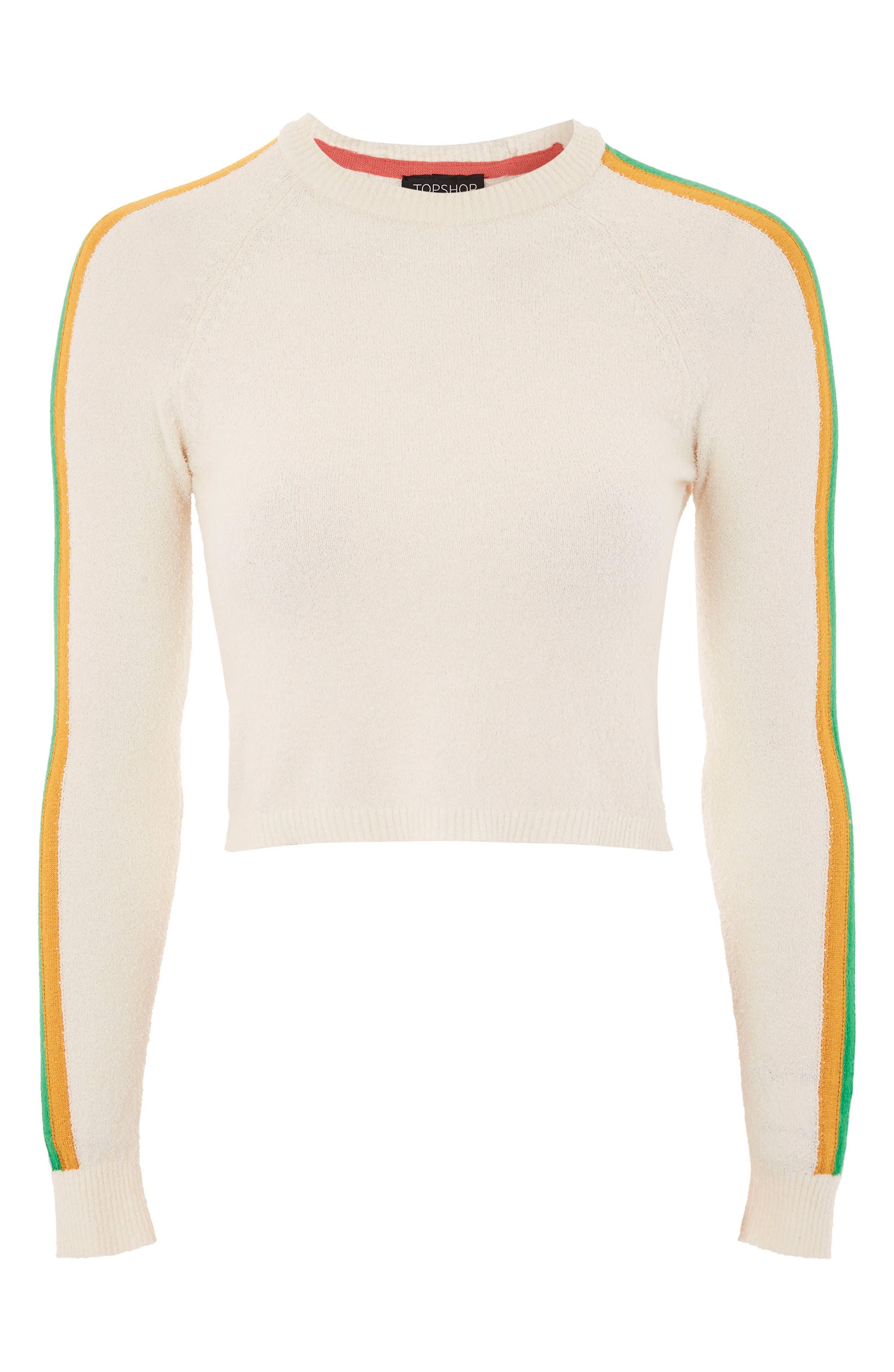 Rainbow Sleeve Knit Top,                             Alternate thumbnail 4, color,                             Cream Multi