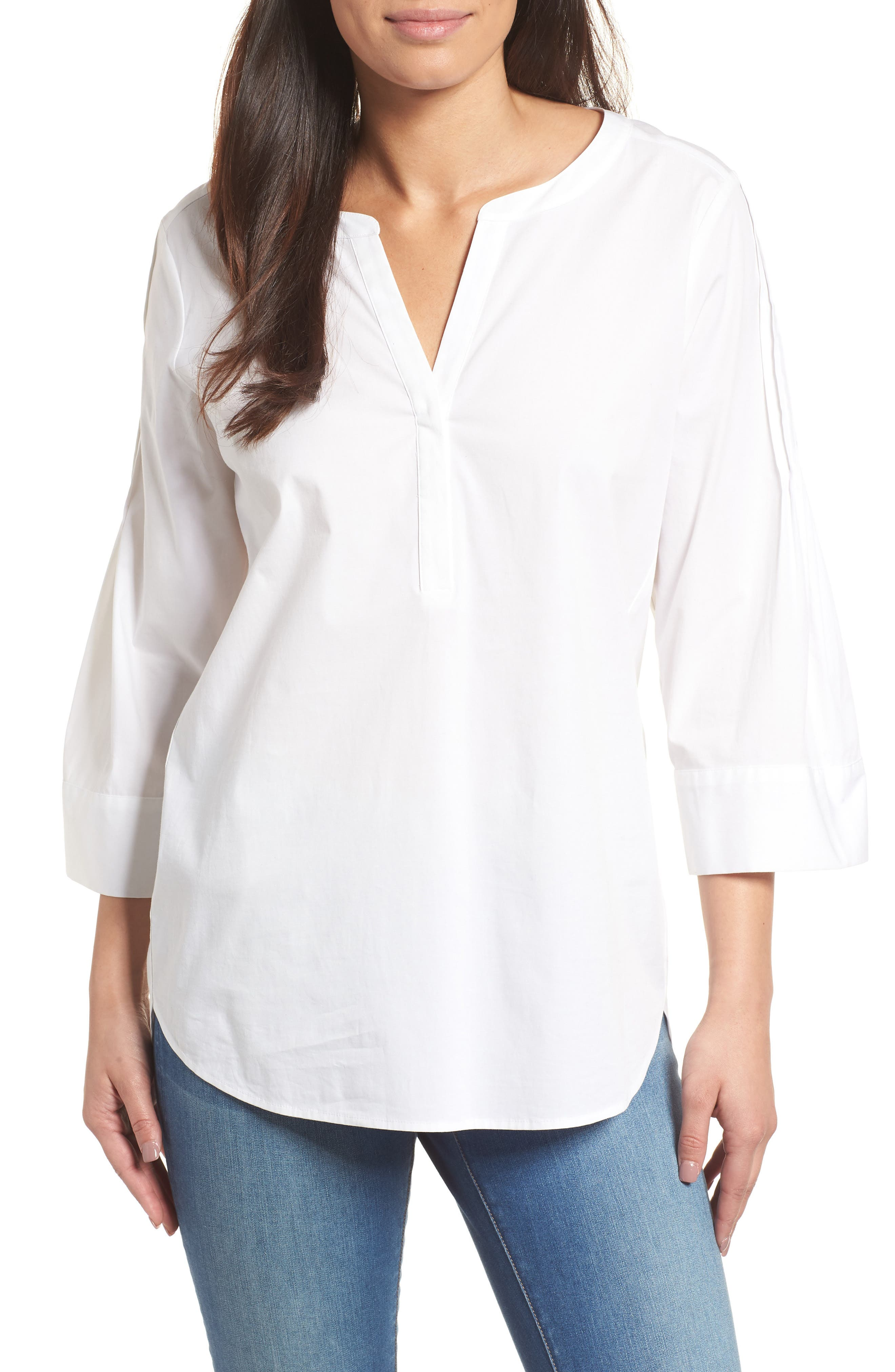 Split Neck Stretch Cotton Blouse,                         Main,                         color, 145-Ultra White
