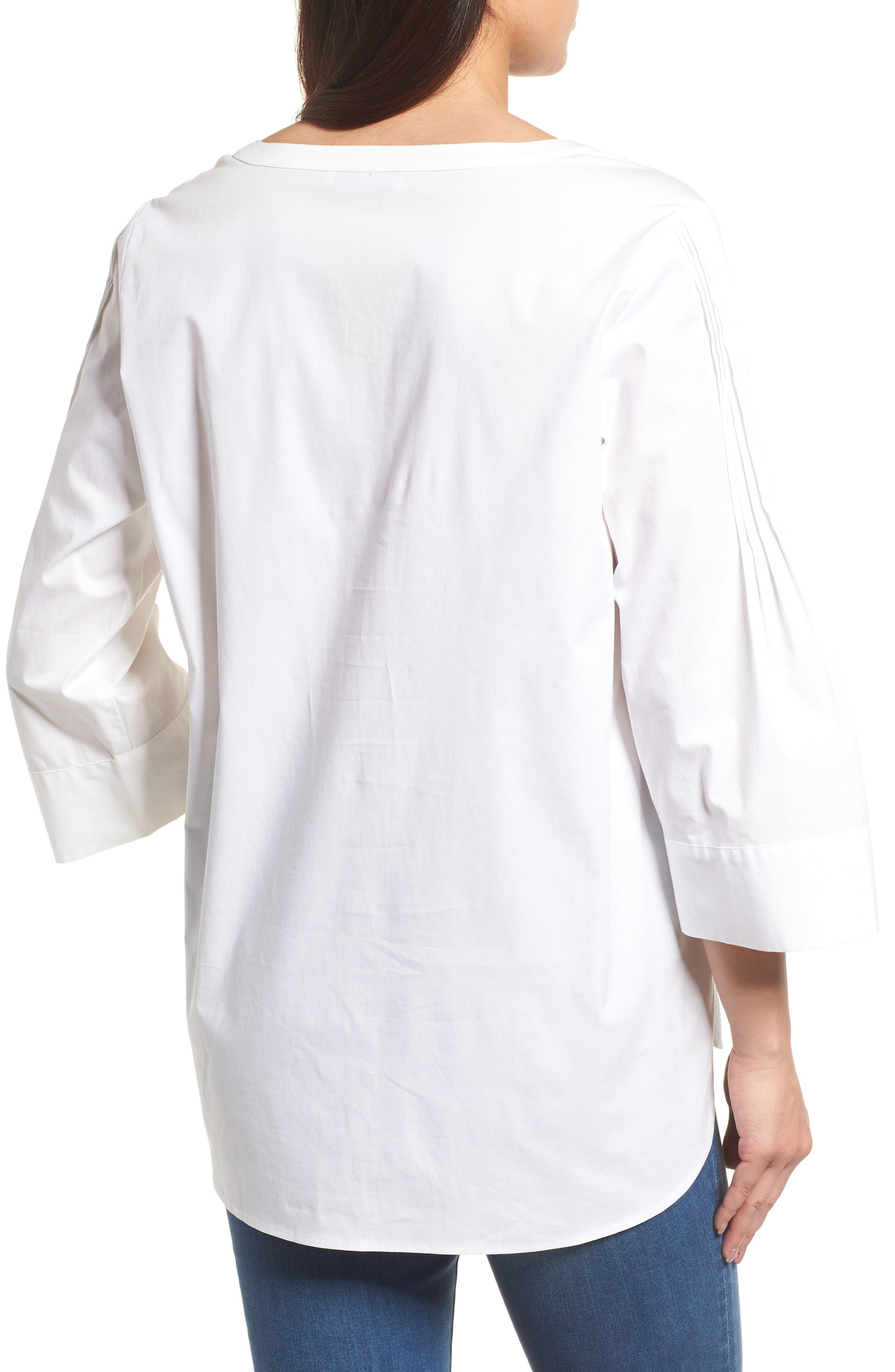 Split Neck Stretch Cotton Blouse,                             Alternate thumbnail 2, color,                             145-Ultra White