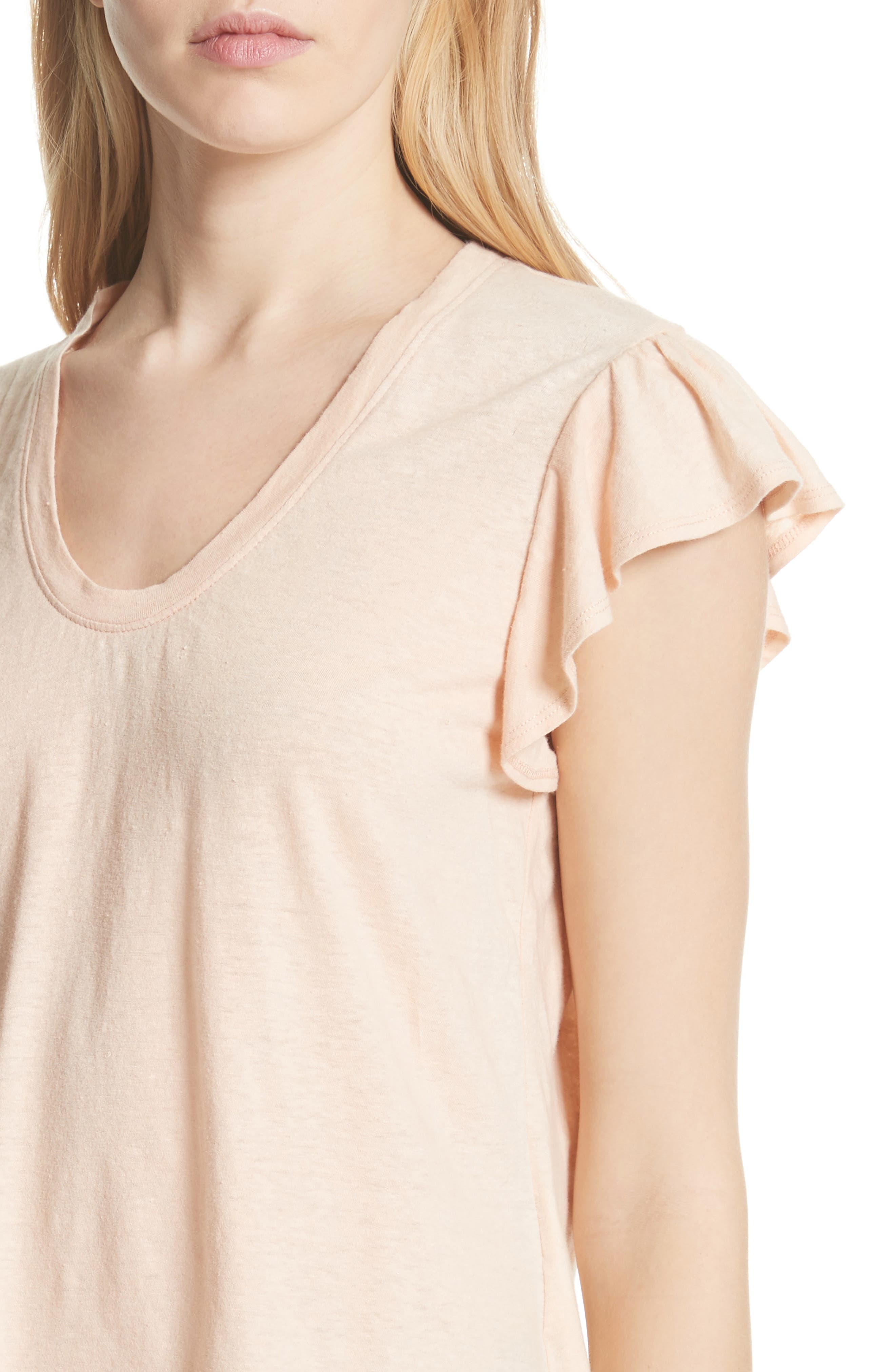 Linen & Cotton Ruffle Sleeve Tee,                             Alternate thumbnail 4, color,                             Rose Cloud