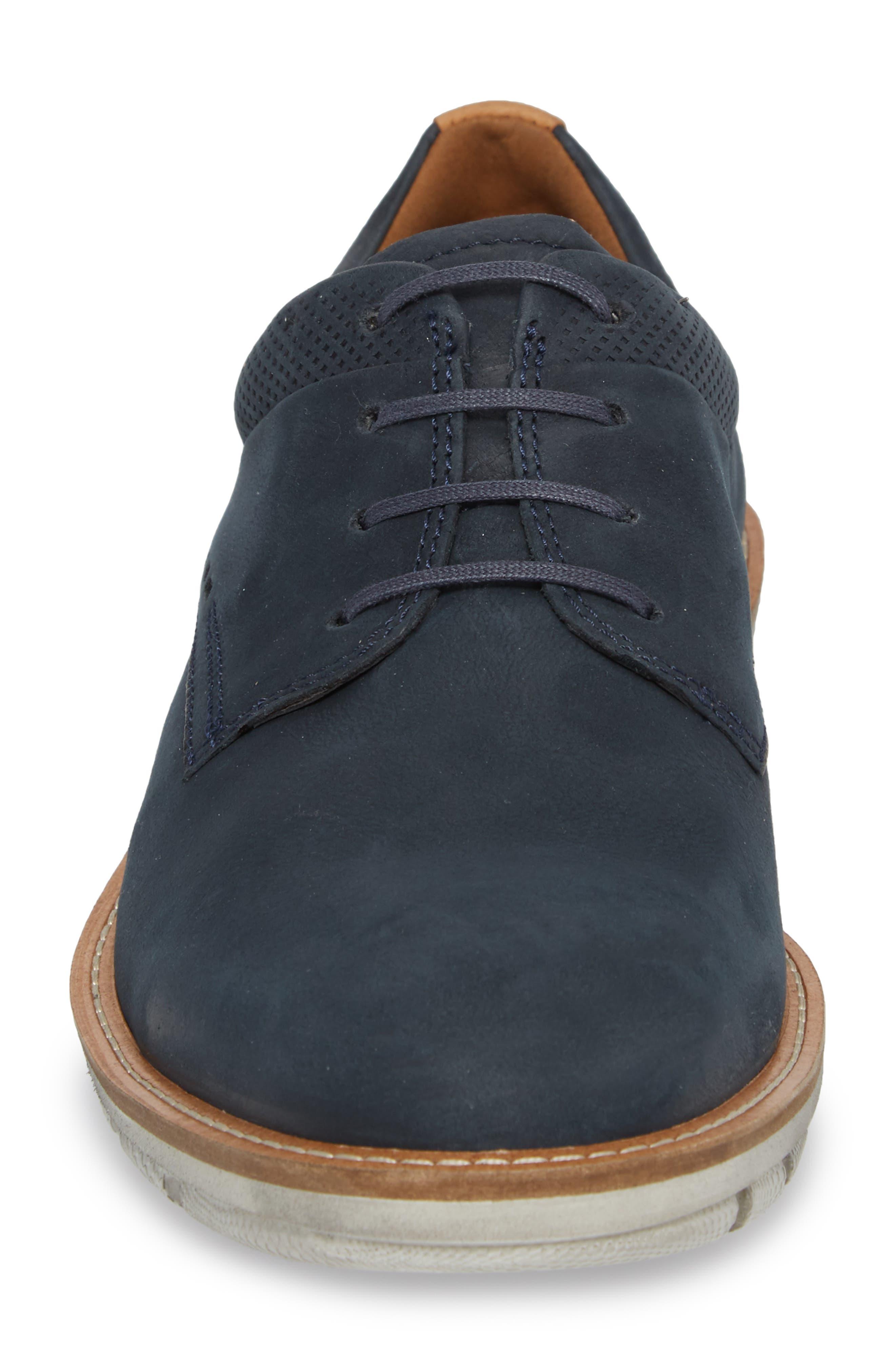 Jeremy Hybrid Plain Toe Derby,                             Alternate thumbnail 3, color,                             Navy Leather