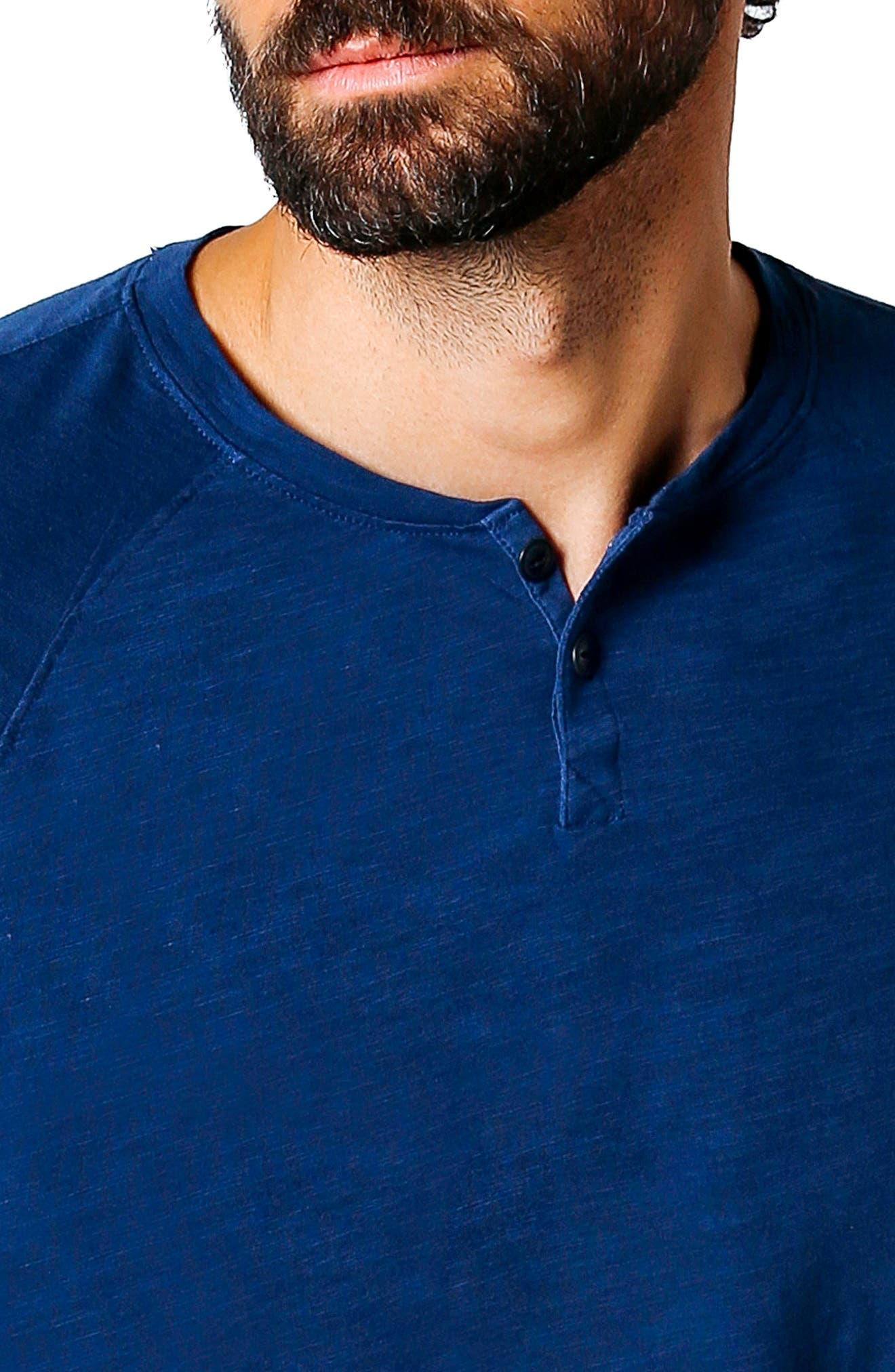 Athletic Slim Fit Henley,                             Alternate thumbnail 4, color,                             Blue