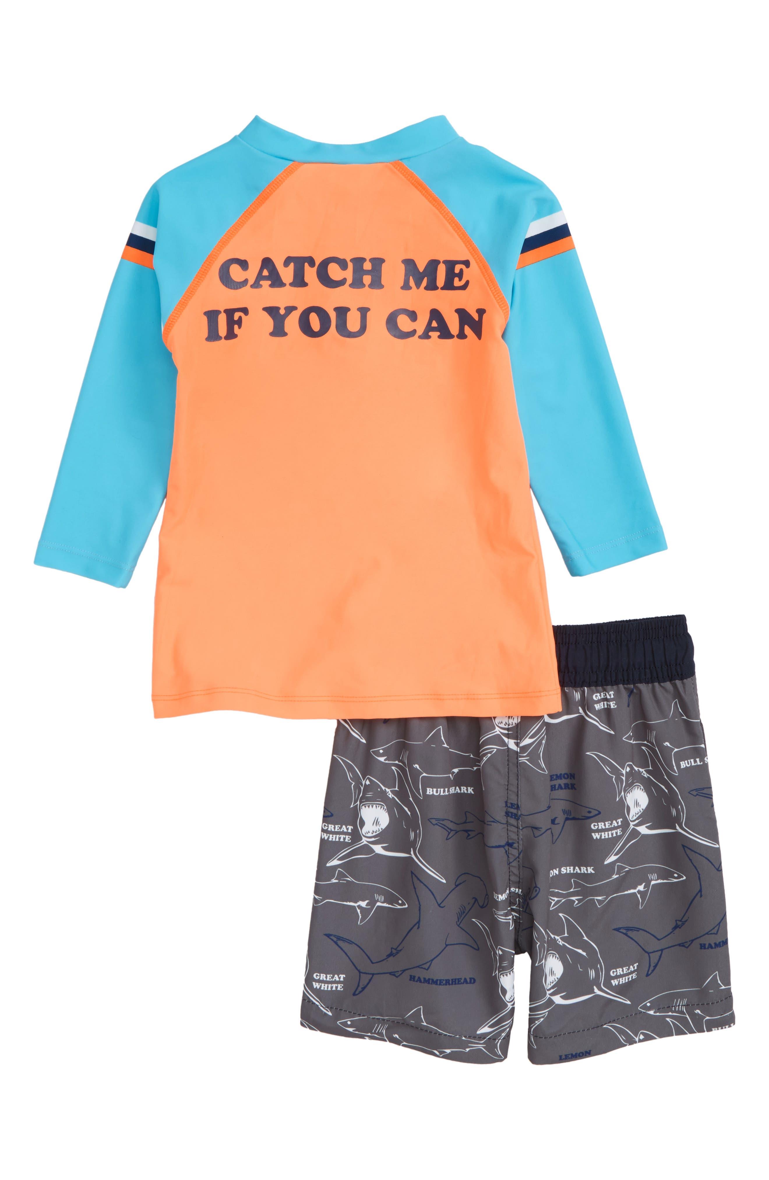 Catch Me if You Can Two-Piece Rashguard Swimsuit,                             Alternate thumbnail 2, color,                             Orange