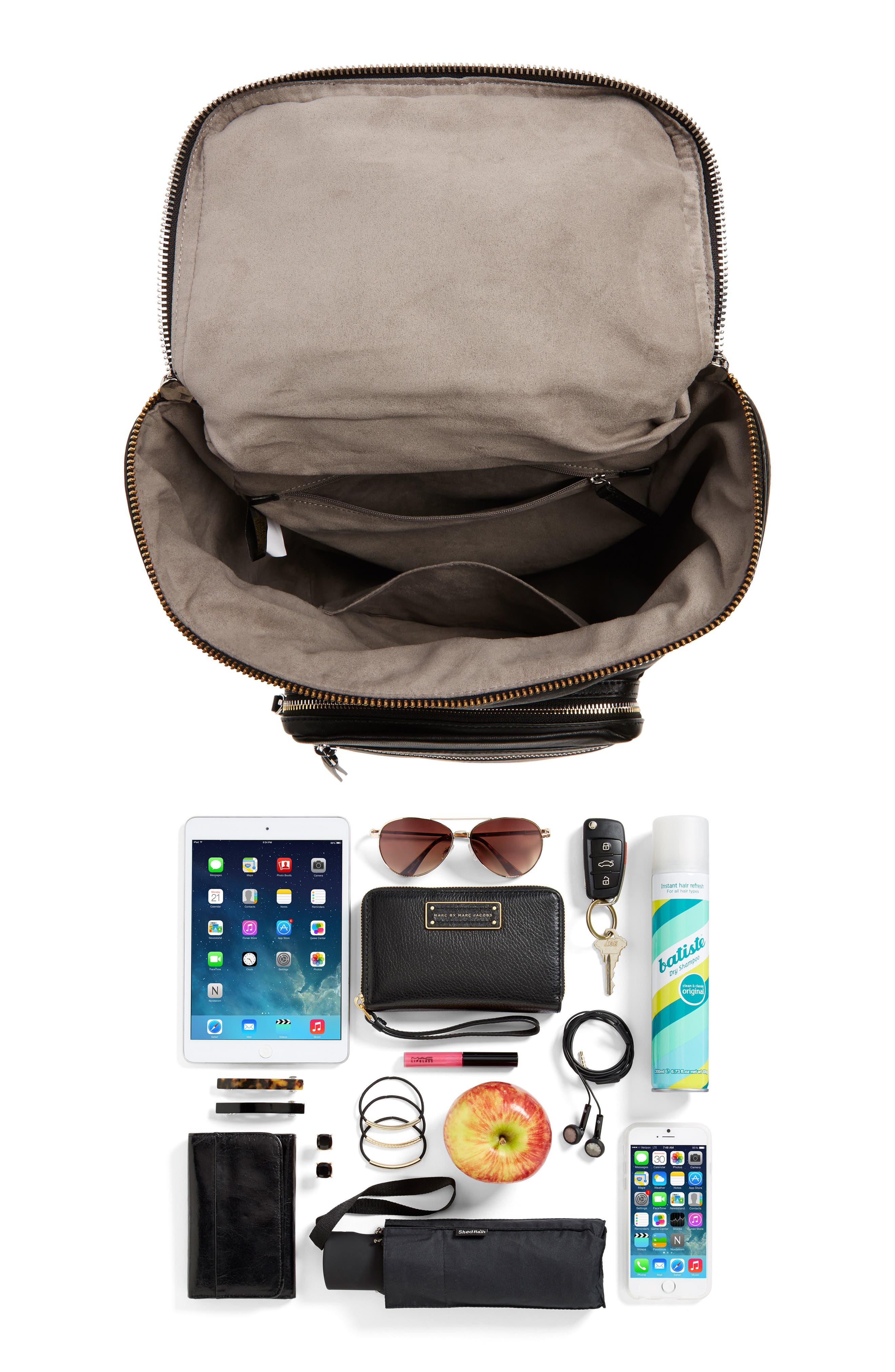 Patch Convertible Leather Backpack,                             Alternate thumbnail 7, color,