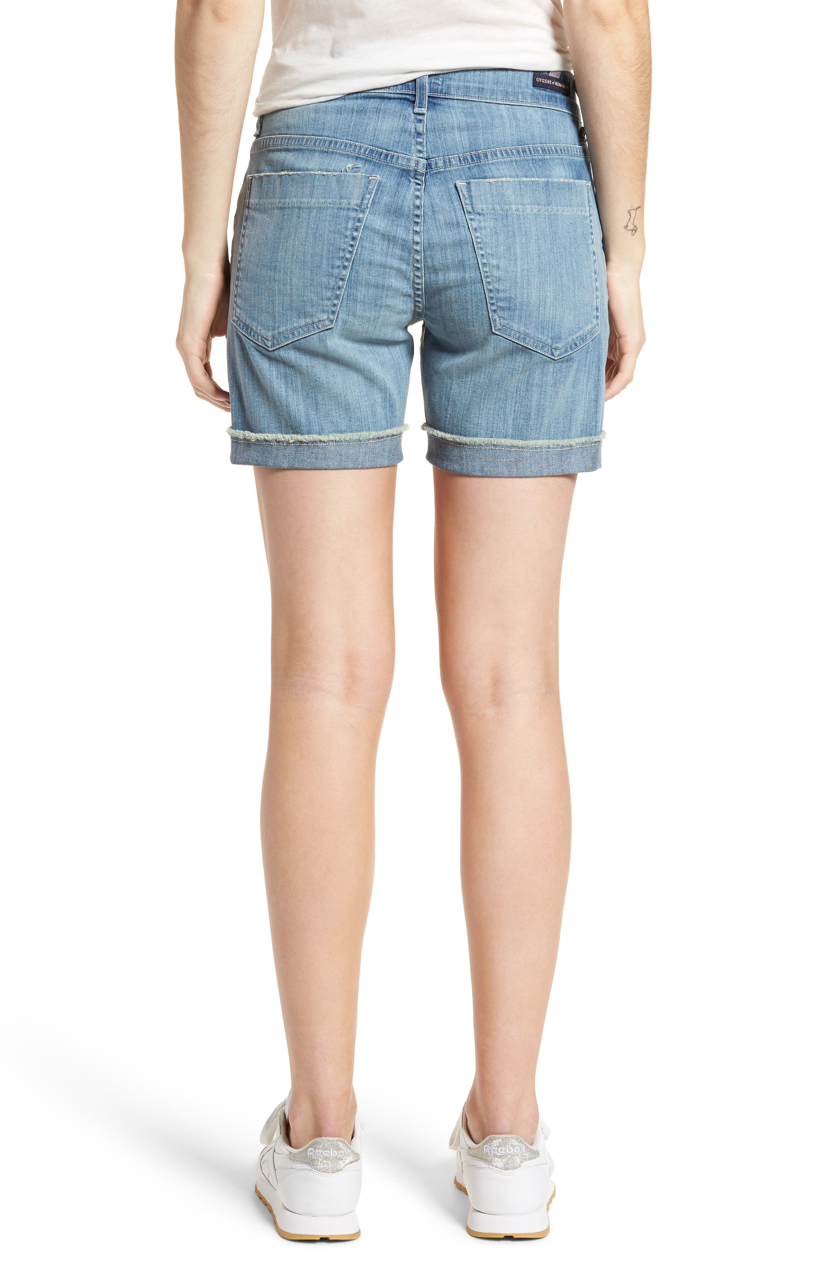 Skyler Denim Shorts,                             Alternate thumbnail 2, color,                             Mercury