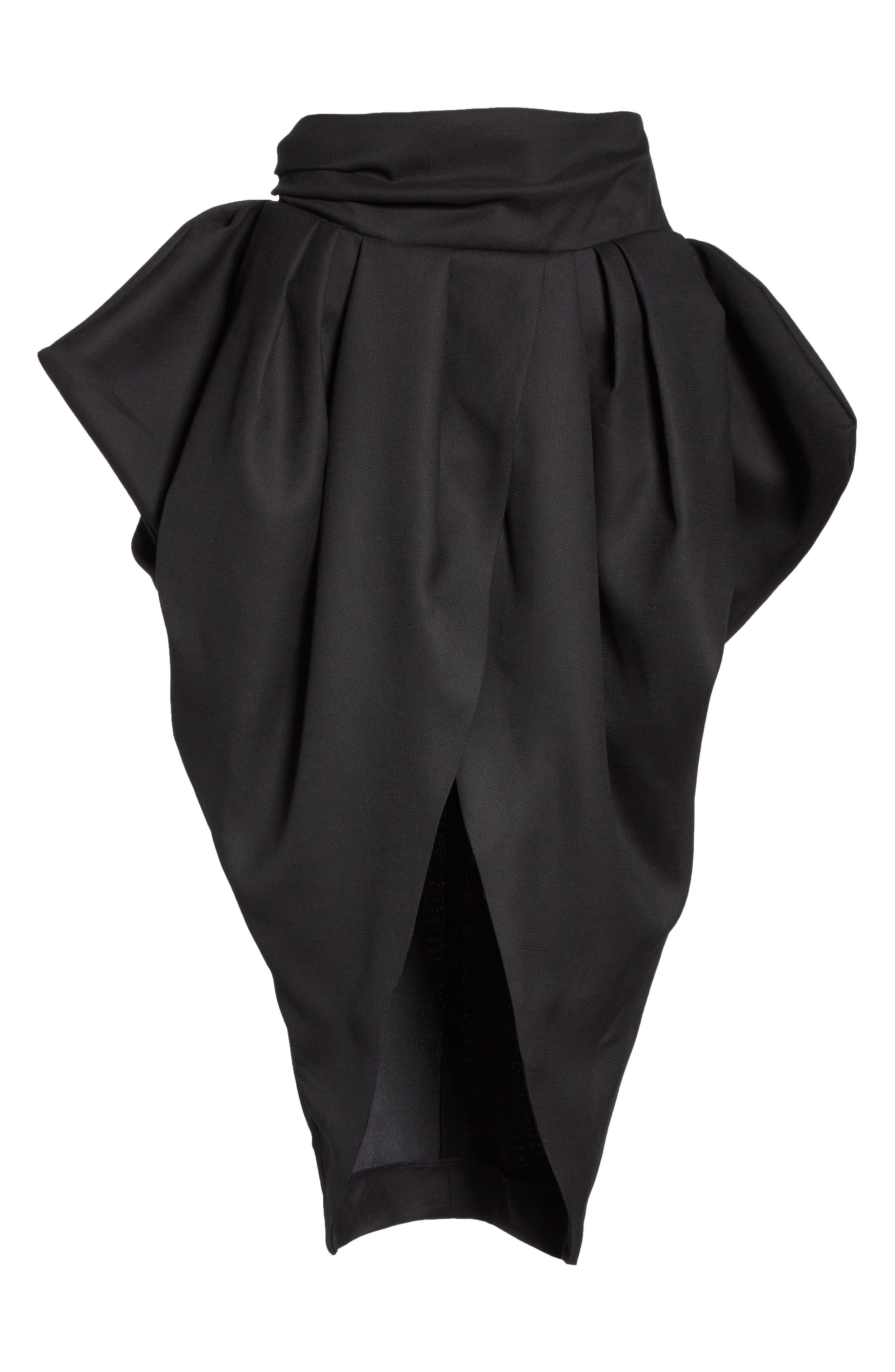 La Jupe Ilha Wool Midi Skirt,                             Alternate thumbnail 6, color,                             Black