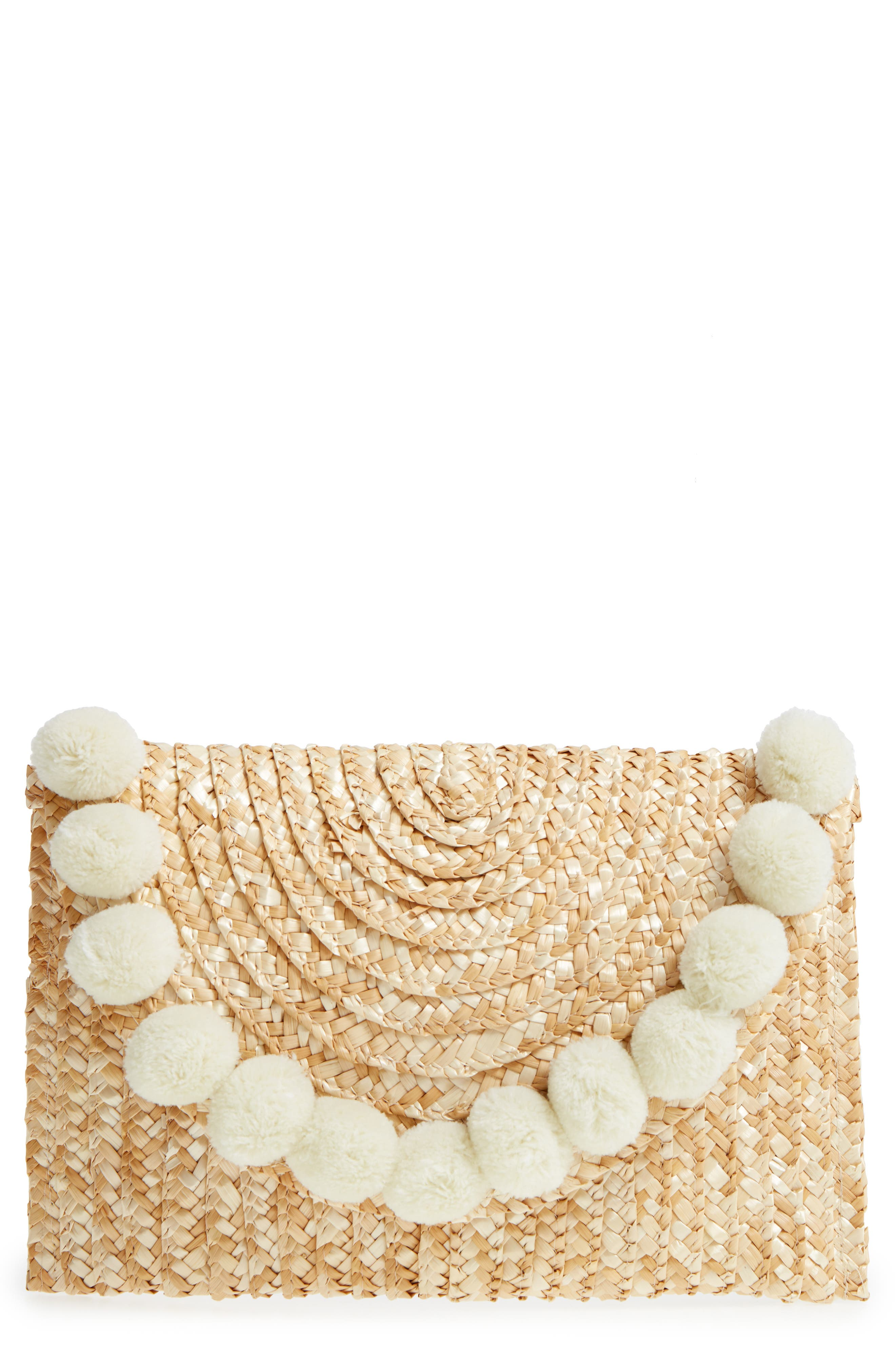 Fortuna Straw Clutch,                             Main thumbnail 1, color,                             Natural