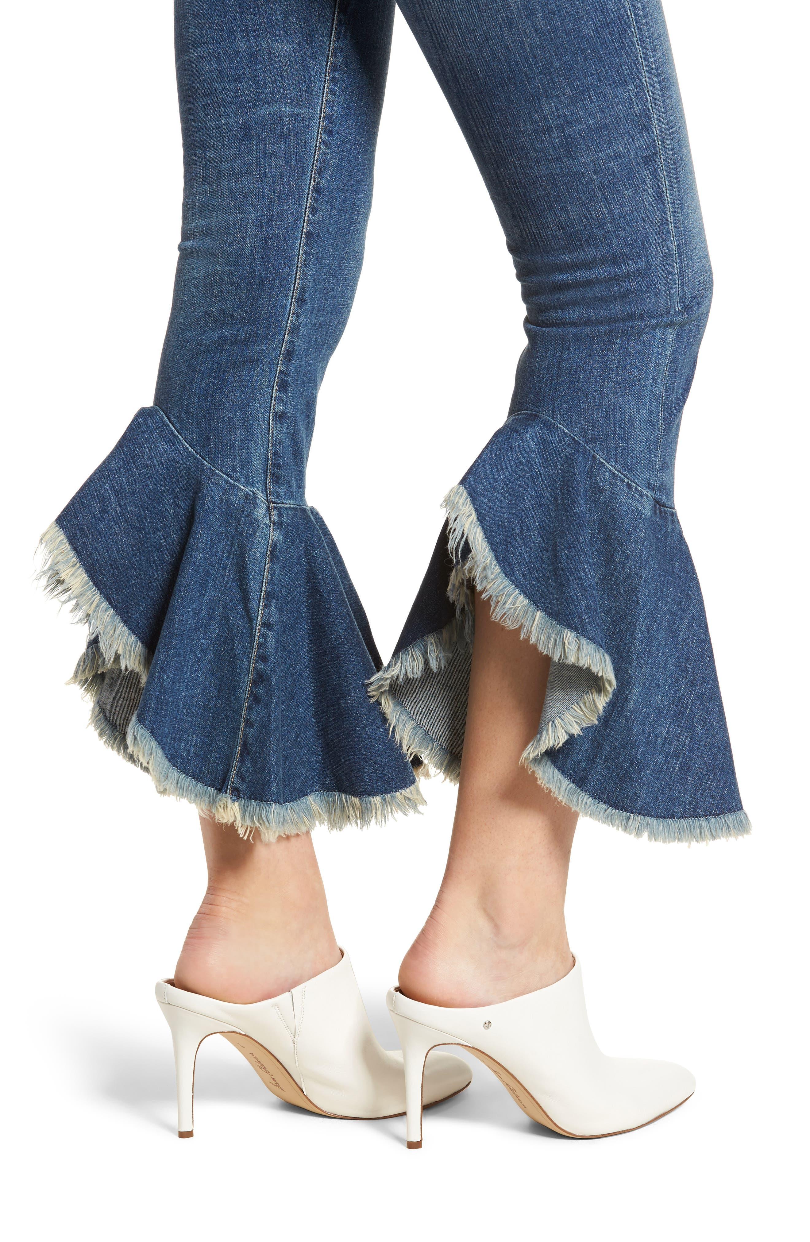 Drew Flounce Hem Crop Jeans,                             Alternate thumbnail 4, color,                             Chachacha