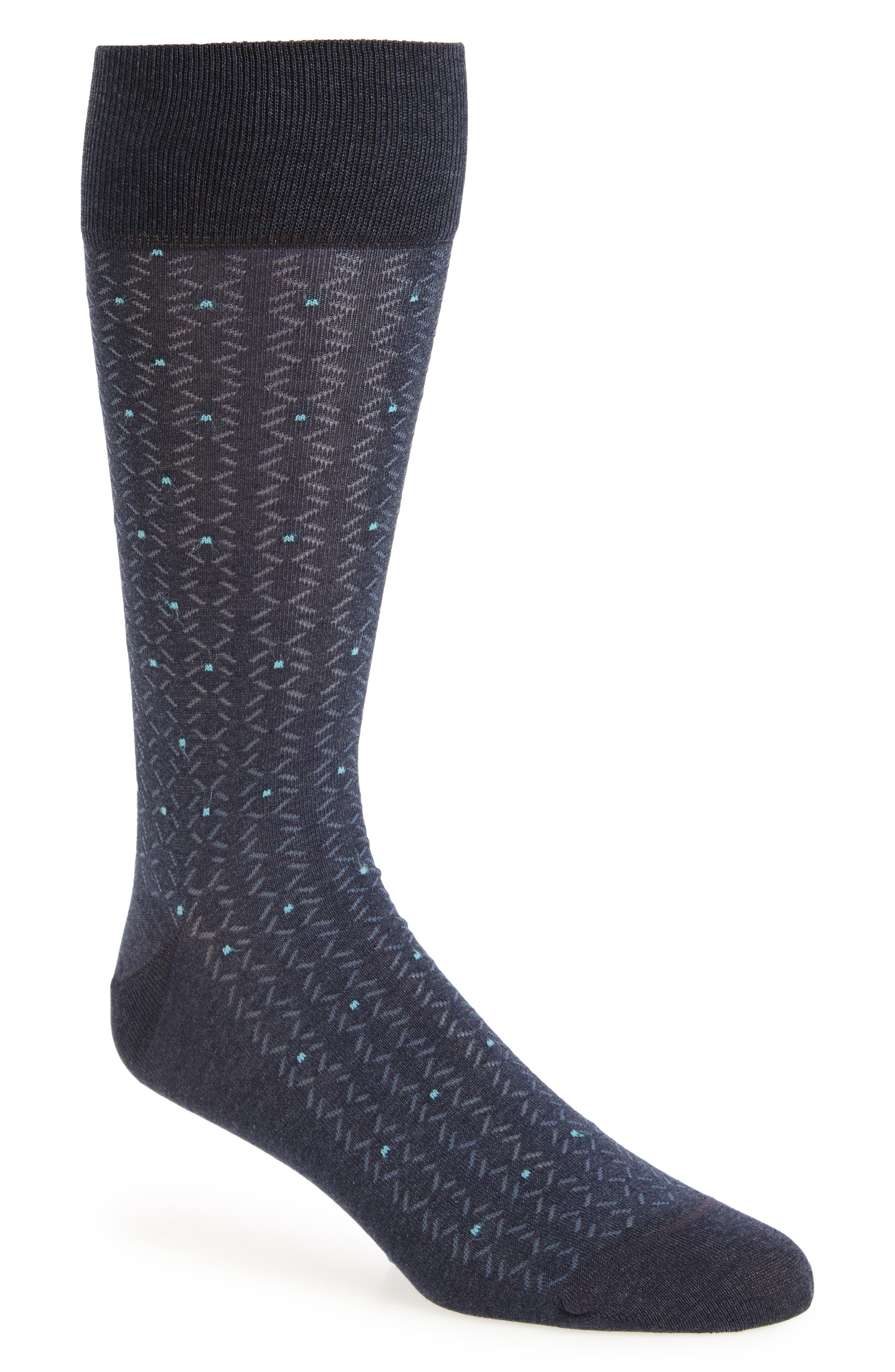 Lattice Points Socks,                         Main,                         color, Navy Heather