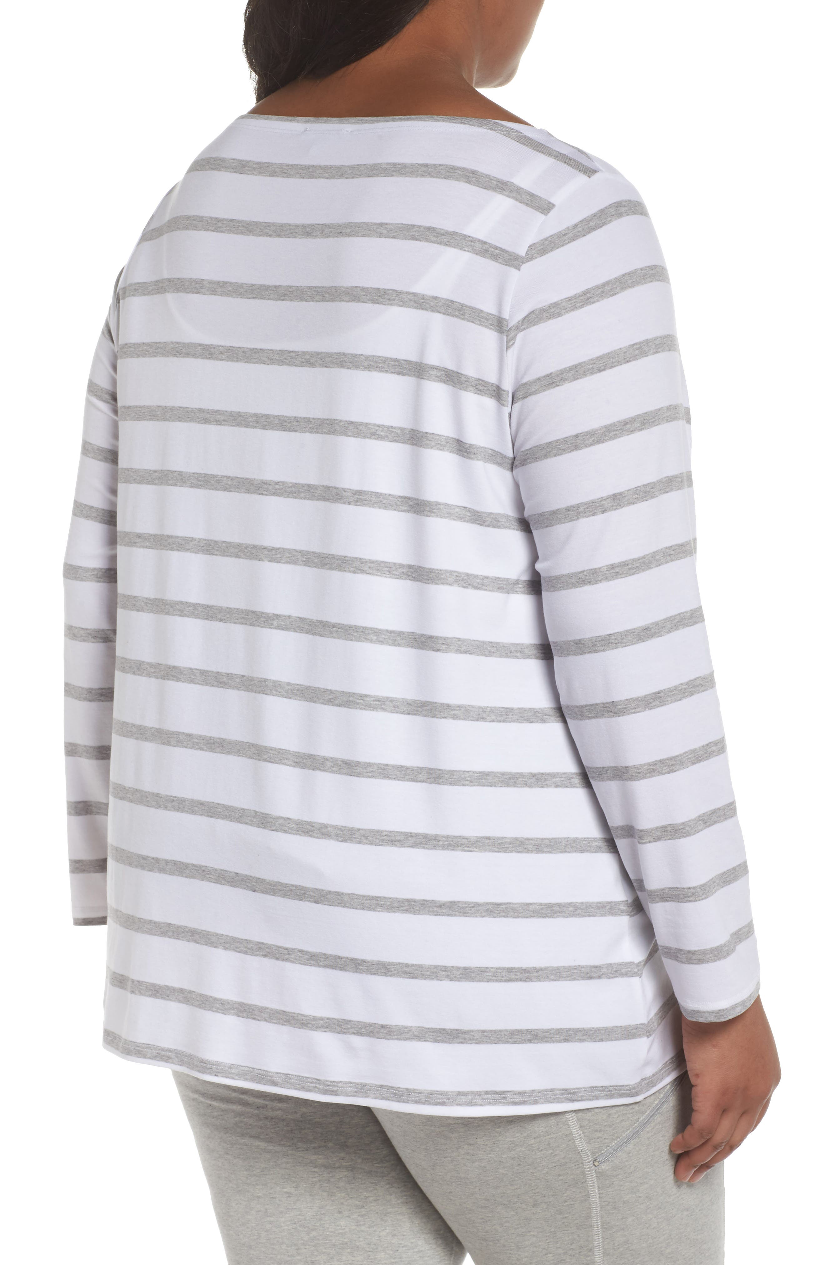 Stripe Stretch Tencel<sup>®</sup> Lyocell Top,                             Alternate thumbnail 2, color,                             White/ Dark Pearl