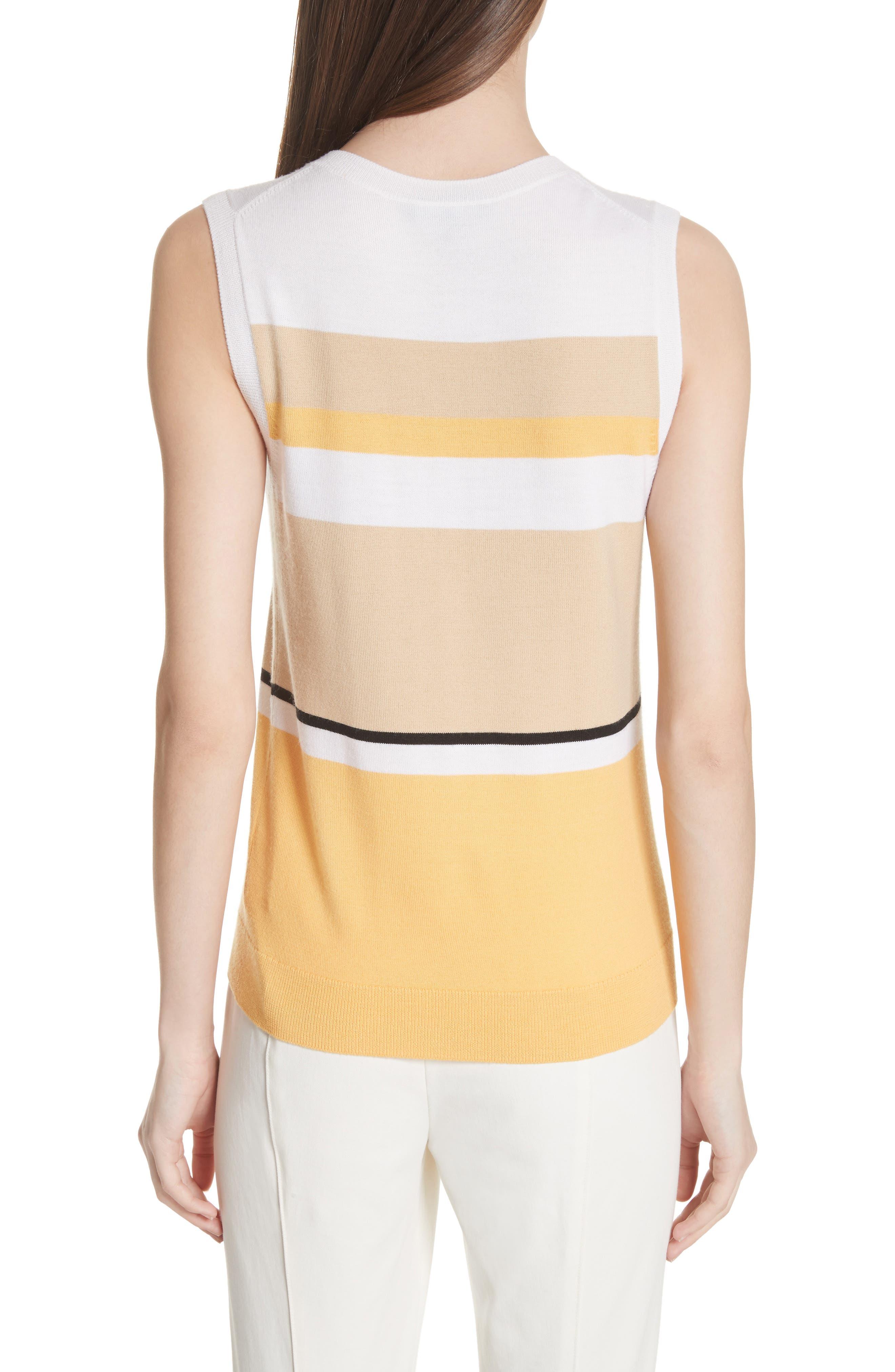 Stripe Jersey Knit Shell,                             Alternate thumbnail 2, color,                             White Multi