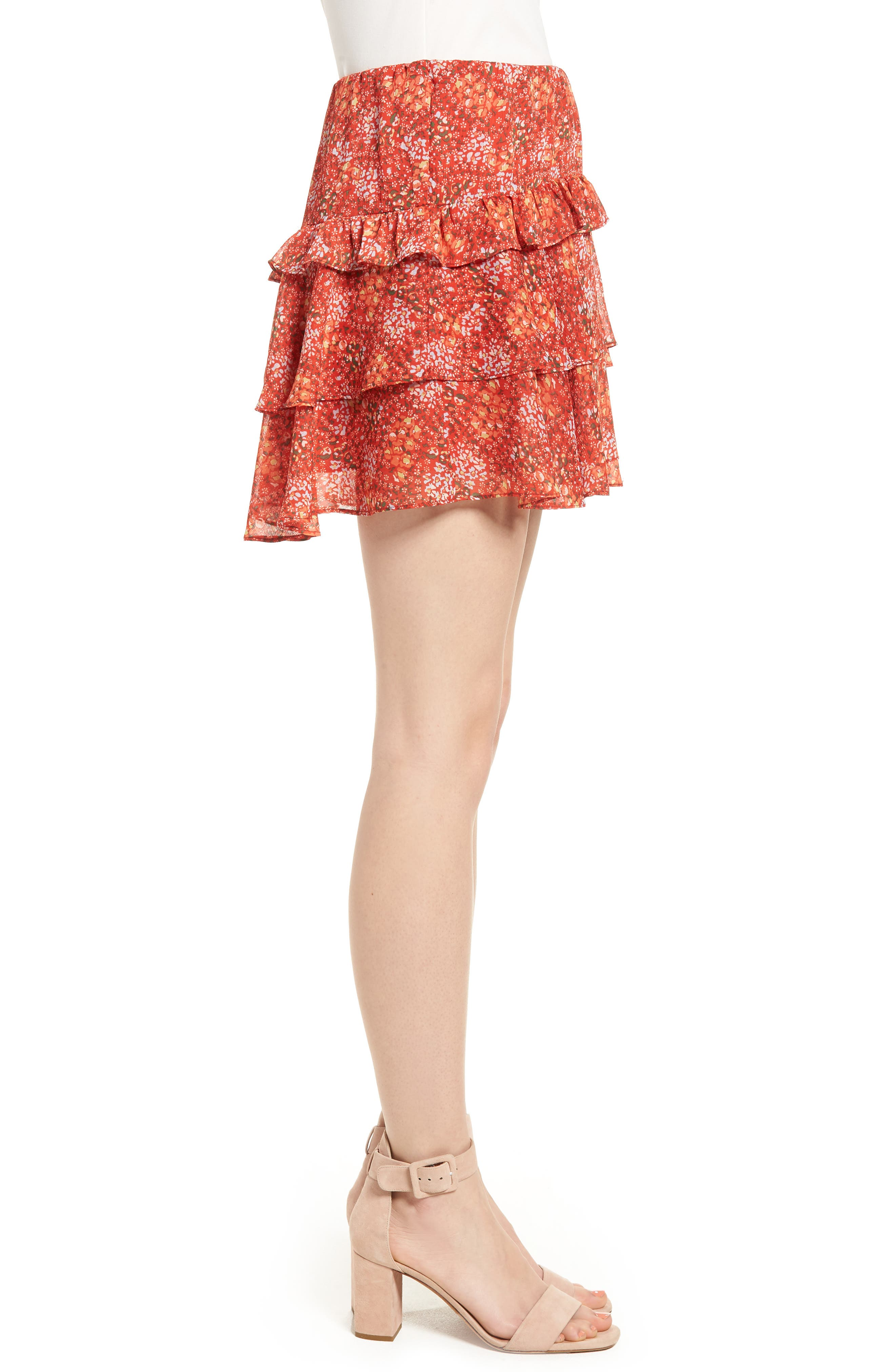 Phoebe Ruffle Tier Skirt,                             Alternate thumbnail 3, color,                             Red Multi
