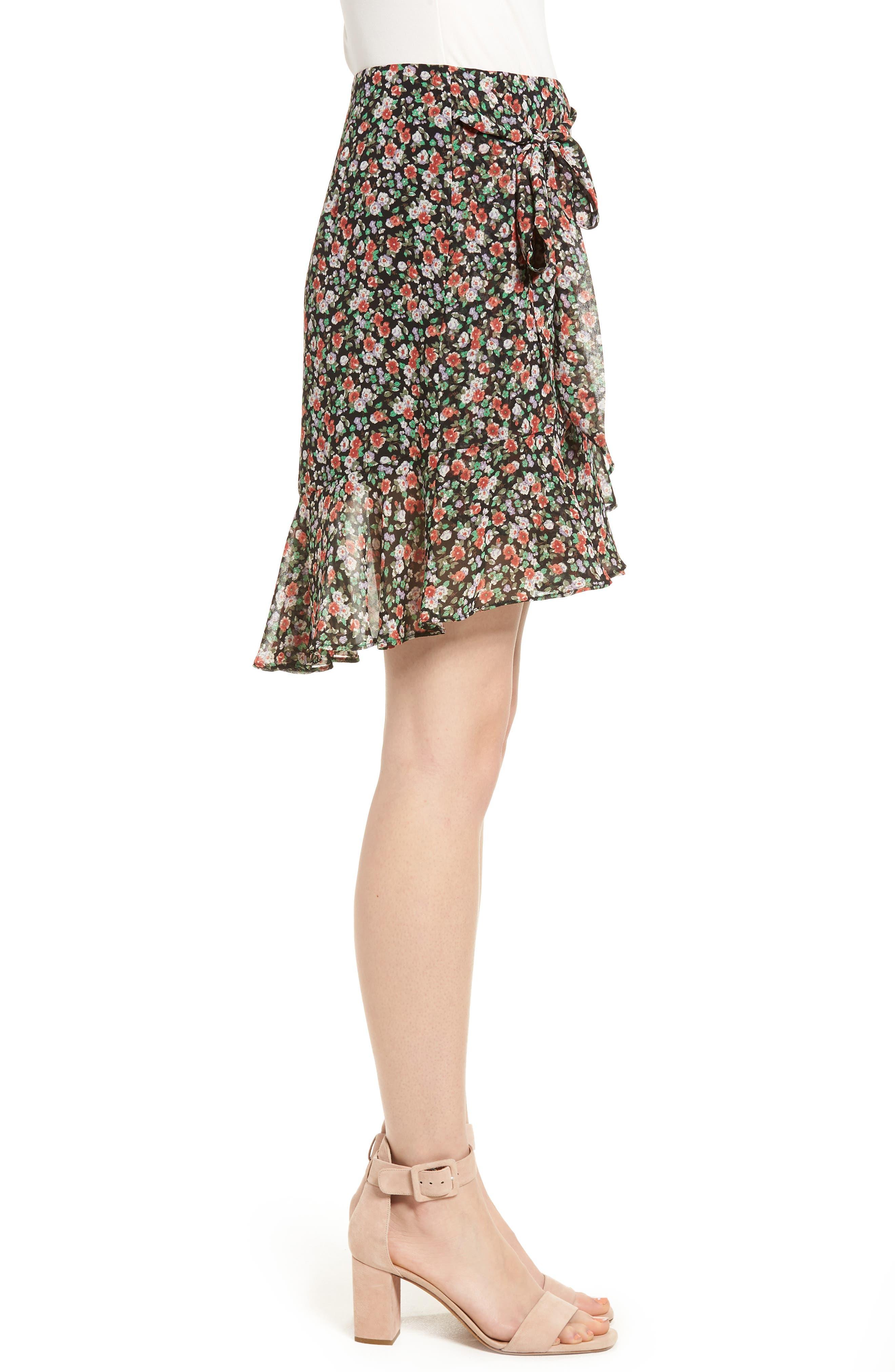 Alice Faux Wrap Skirt,                             Alternate thumbnail 3, color,                             Black Multi