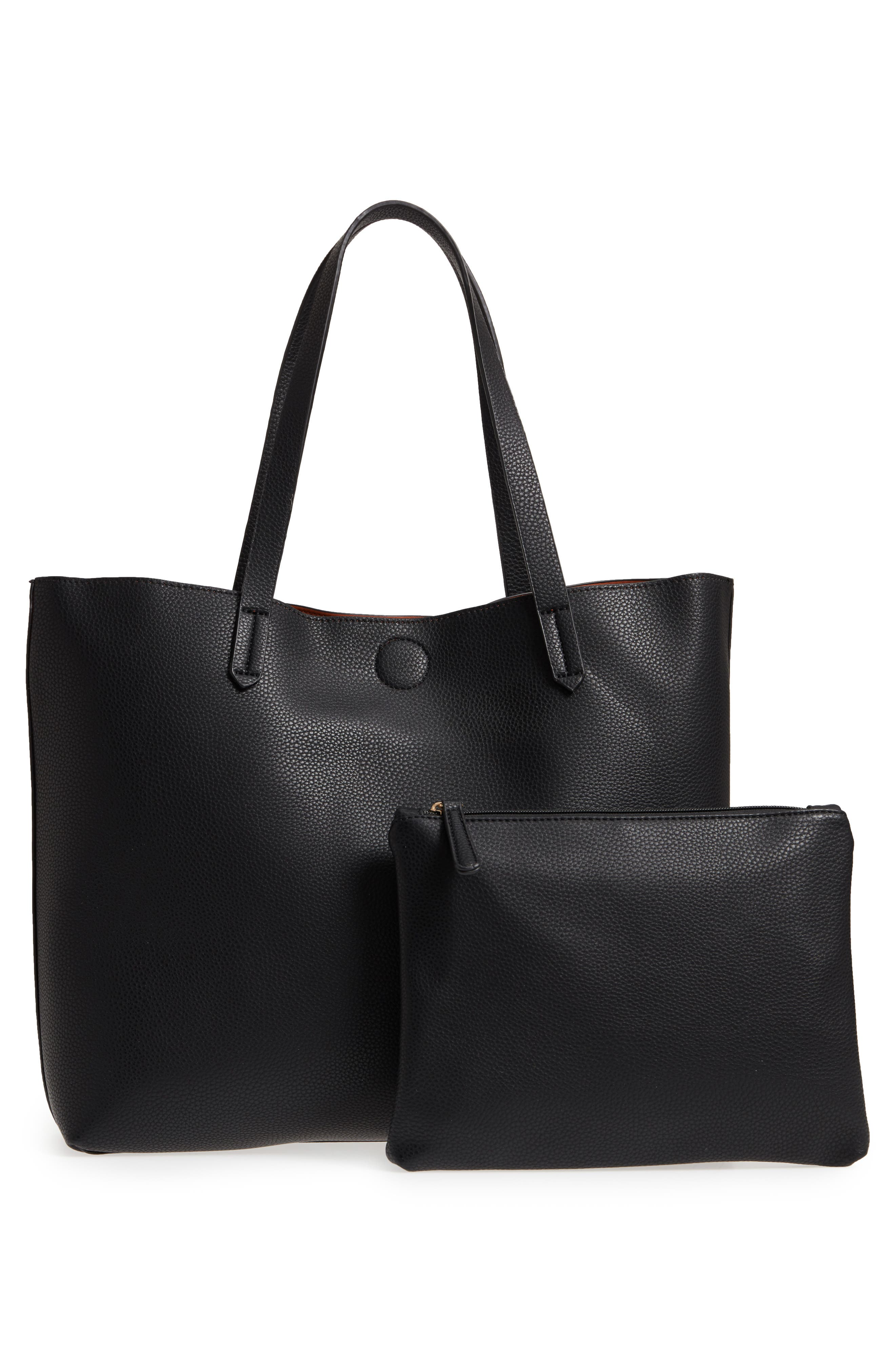 Main Image - BP. Contrast Lining Faux Leather Tote