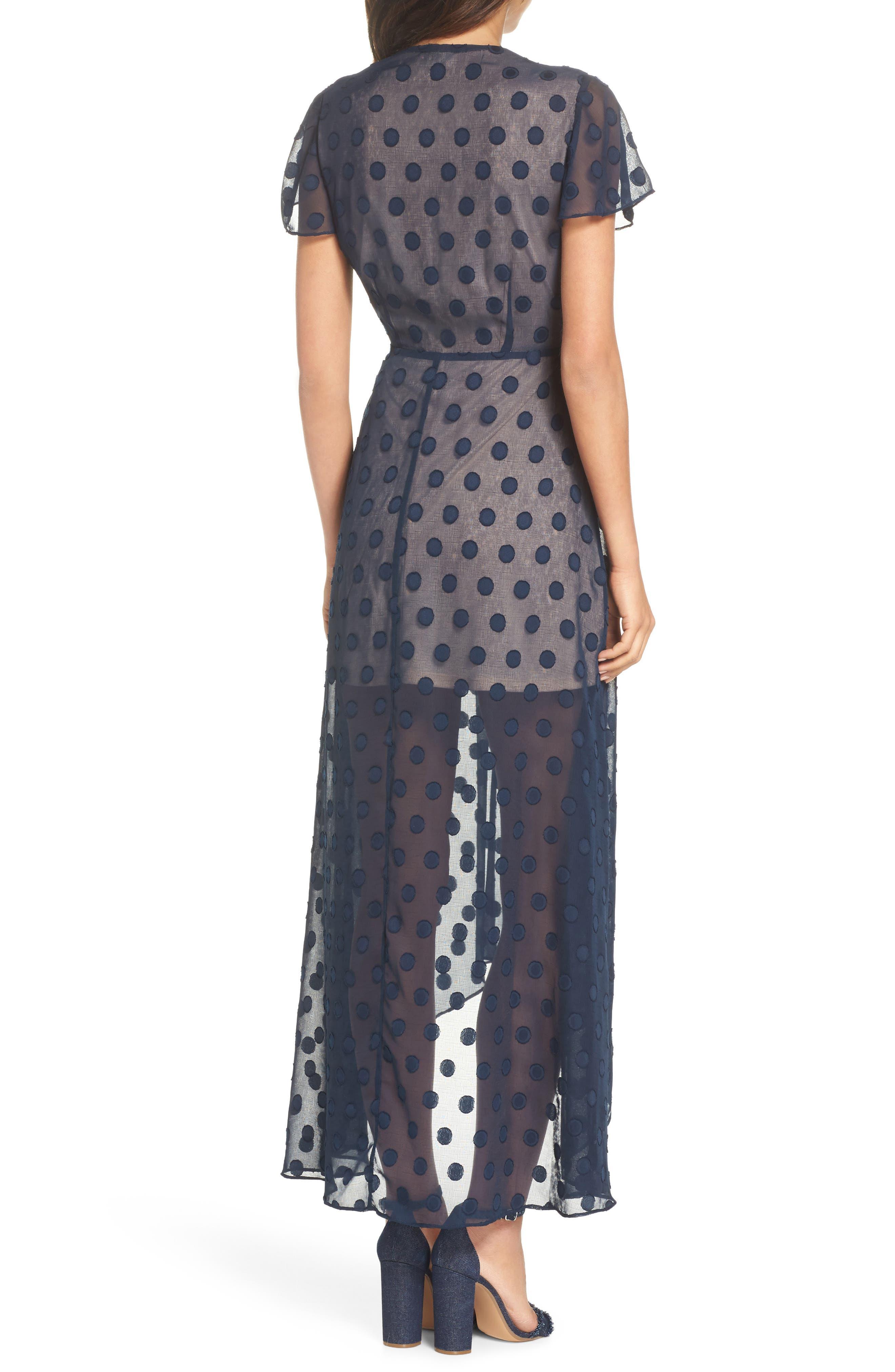 Alexis Dot Jacquard Maxi Dress,                             Alternate thumbnail 2, color,                             Navy