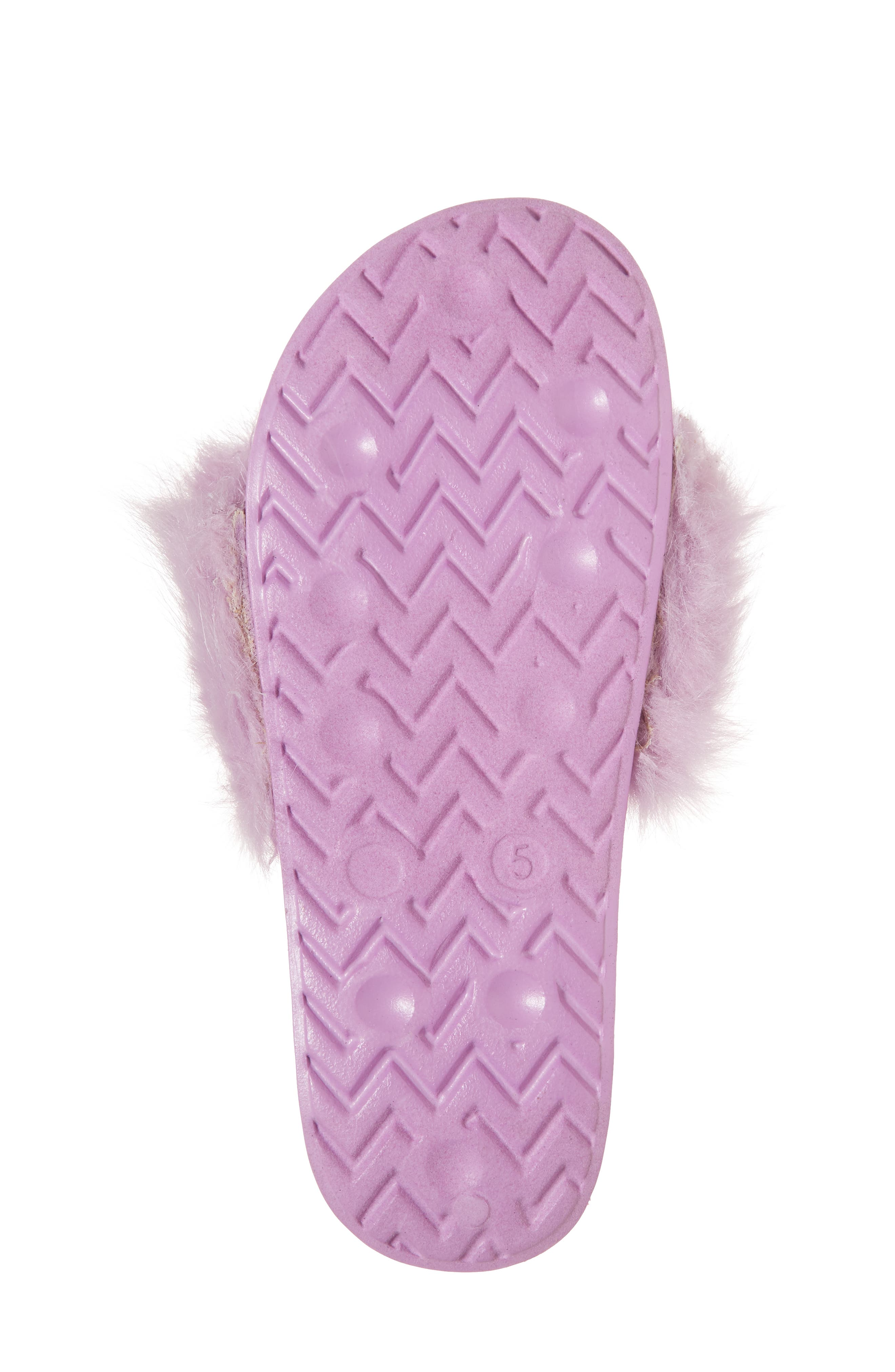 Mackie Aster Faux Fur Slide Sandal,                             Alternate thumbnail 6, color,                             Lavender Faux Fur