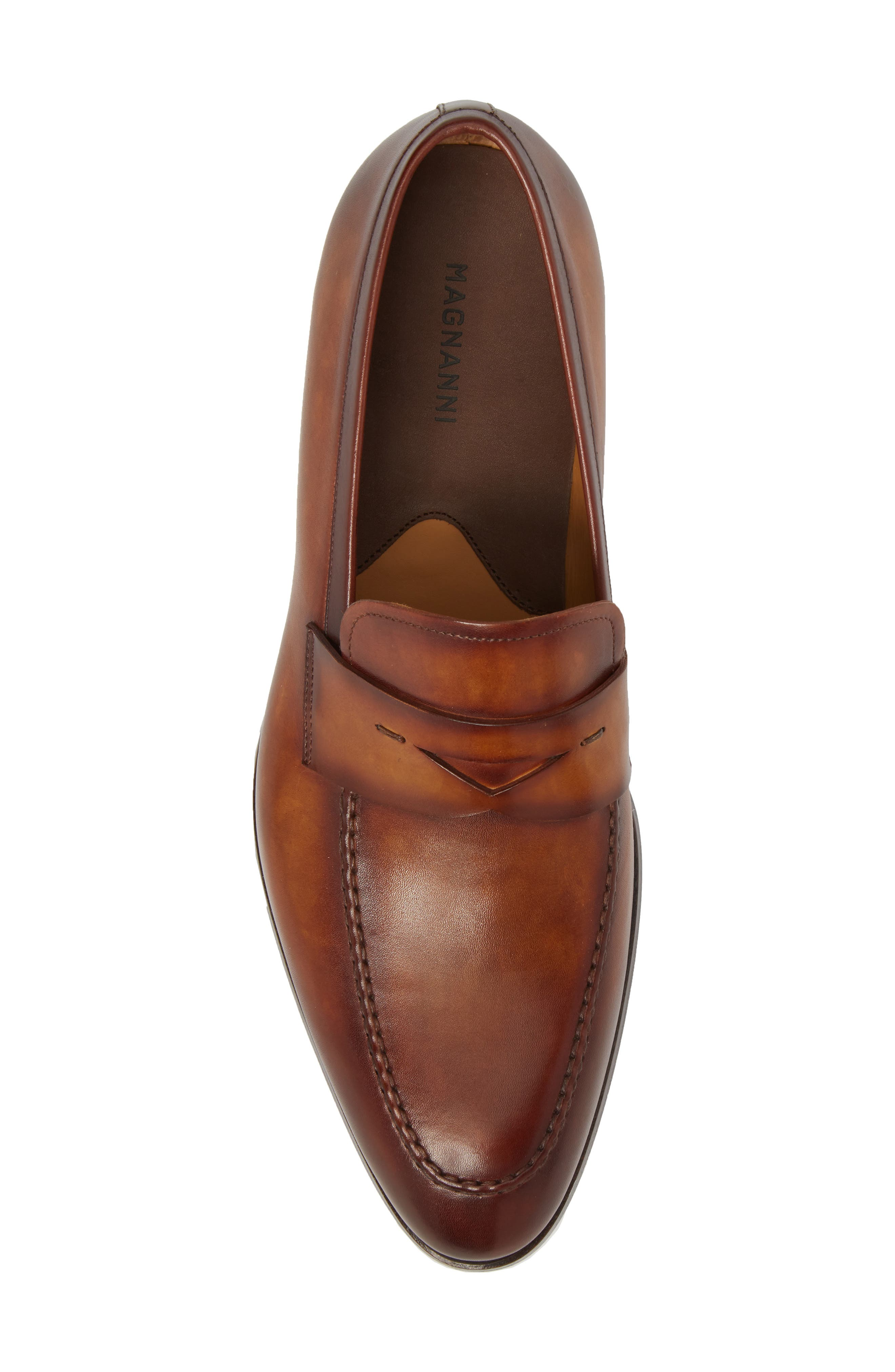 Rolly Apron Toe Penny Loafer,                             Alternate thumbnail 5, color,                             Brown Leather